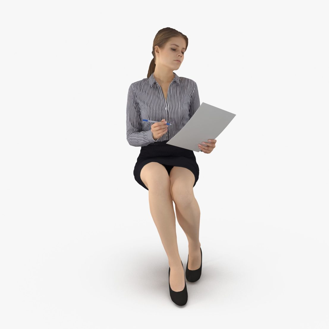 Business Woman Sitting 3D Model | 3DTree Scanning Studio