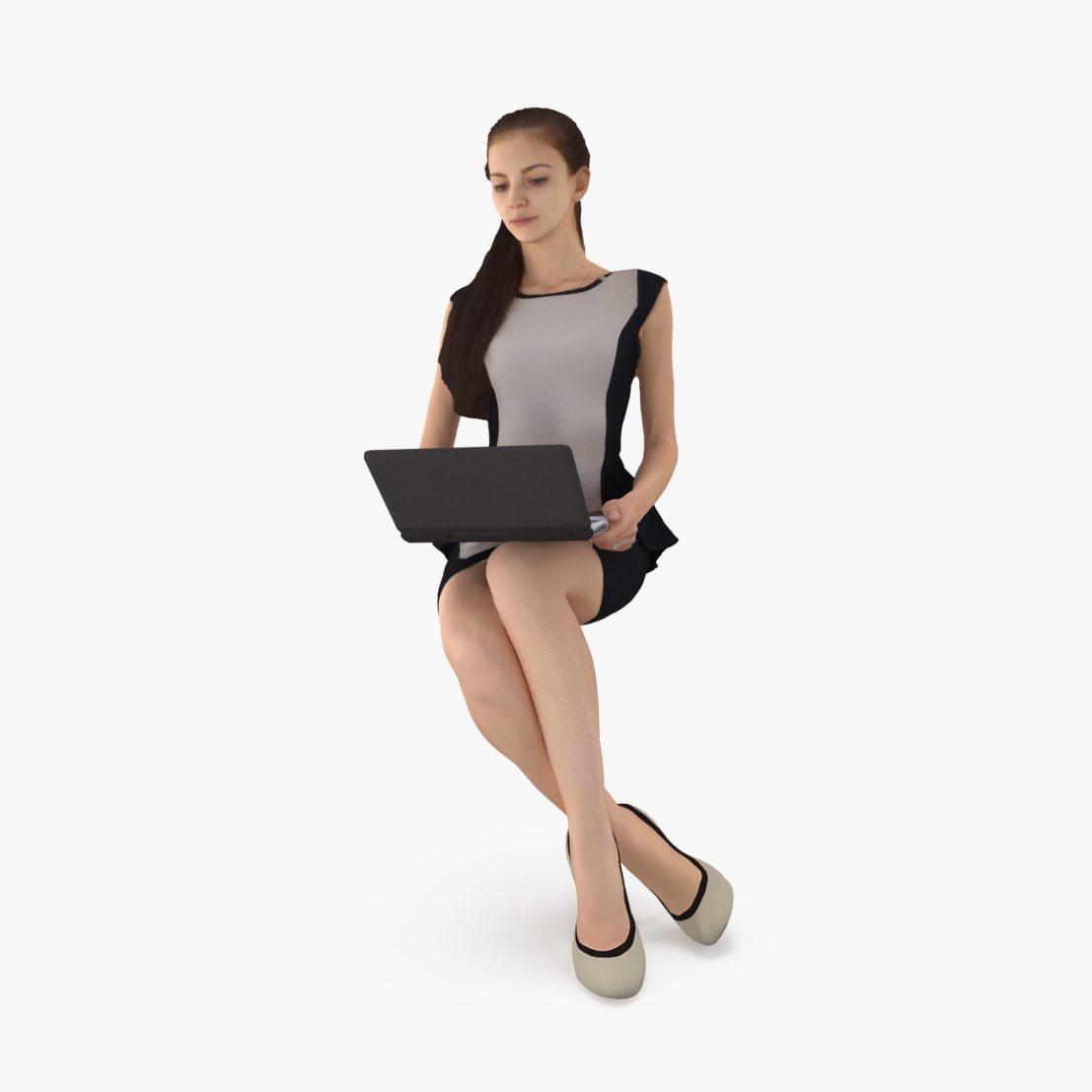 Business Woman Working 3D Model | 3DTree Scanning Studio