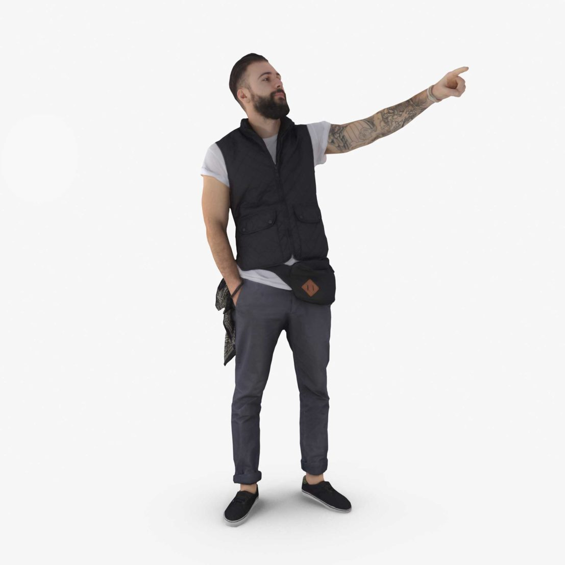 Casual Man Pointing 3D Model | 3DTree Scanning Studio