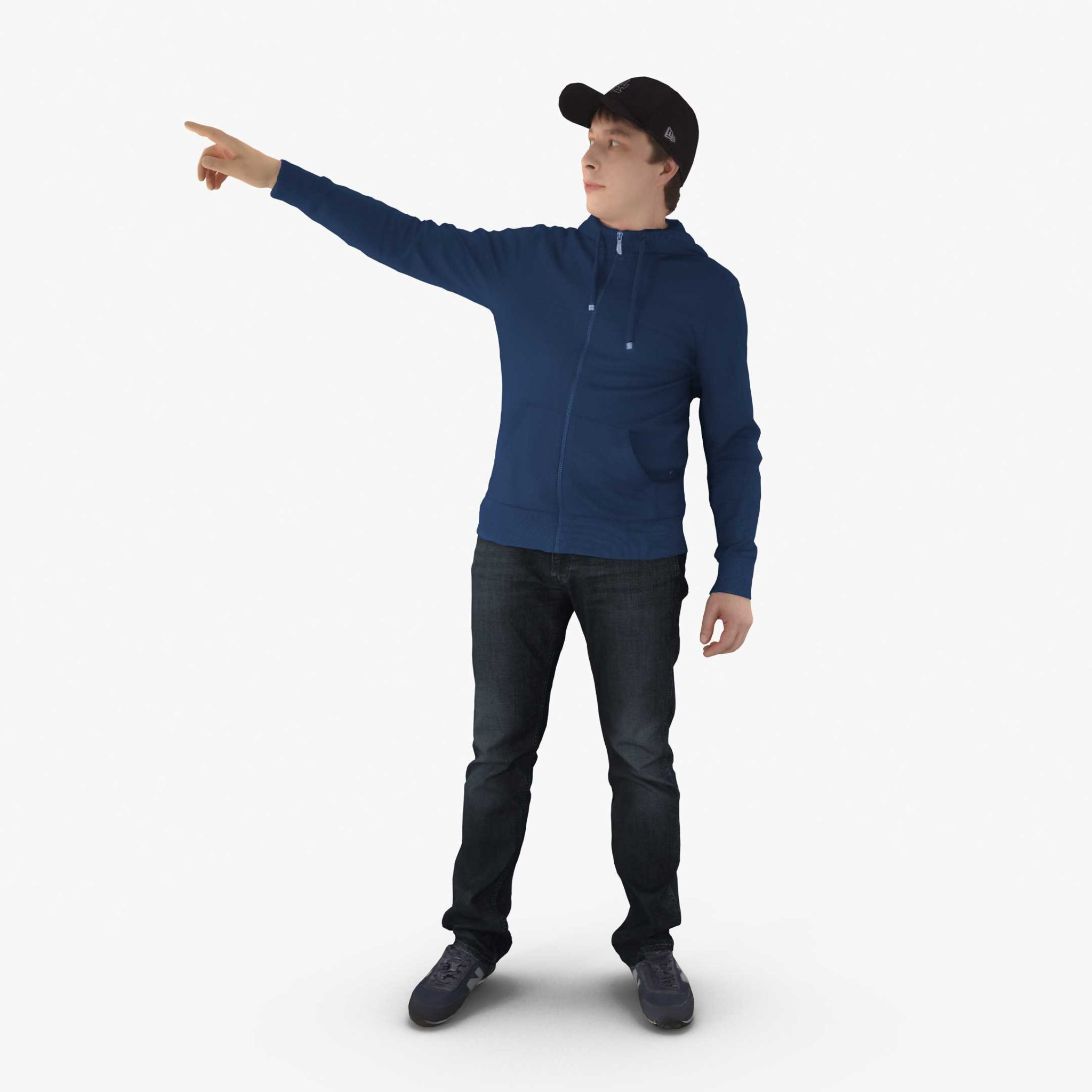 Casual Man Pointing 3D Model, for download files in 3ds, max, obj, fbx with low poly, game, and VR/AR options. Ready for 3D Printing.