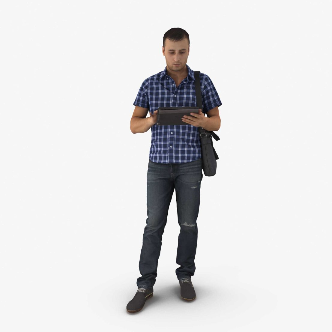 Casual Man Reading 3D Model | 3DTree Scanning Studio