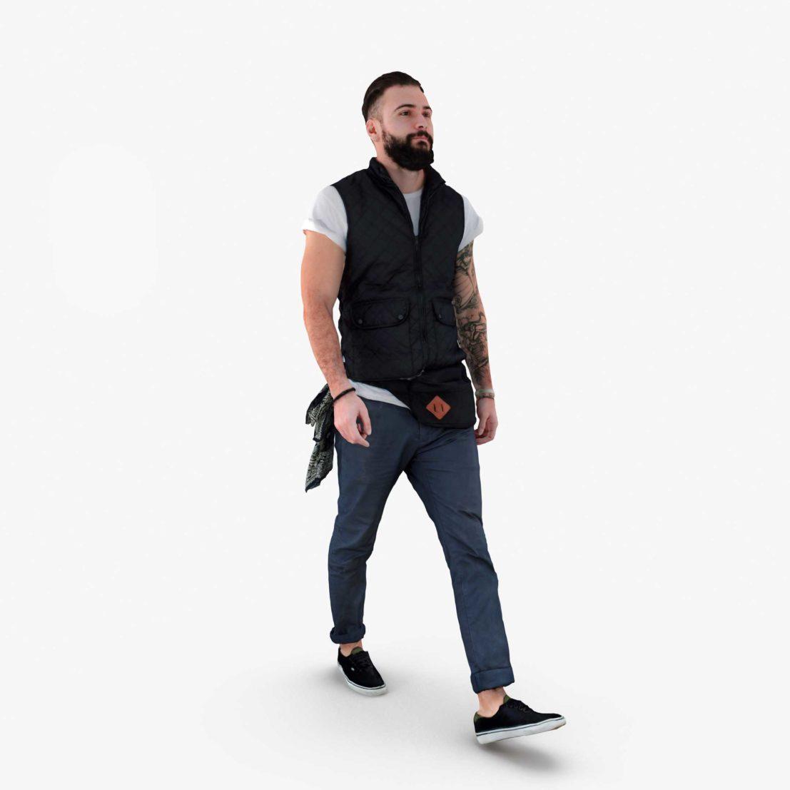 Bearded Man Walking 3D Model | 3DTree Scanning Studio