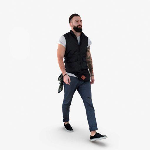 Bearded Man Walking