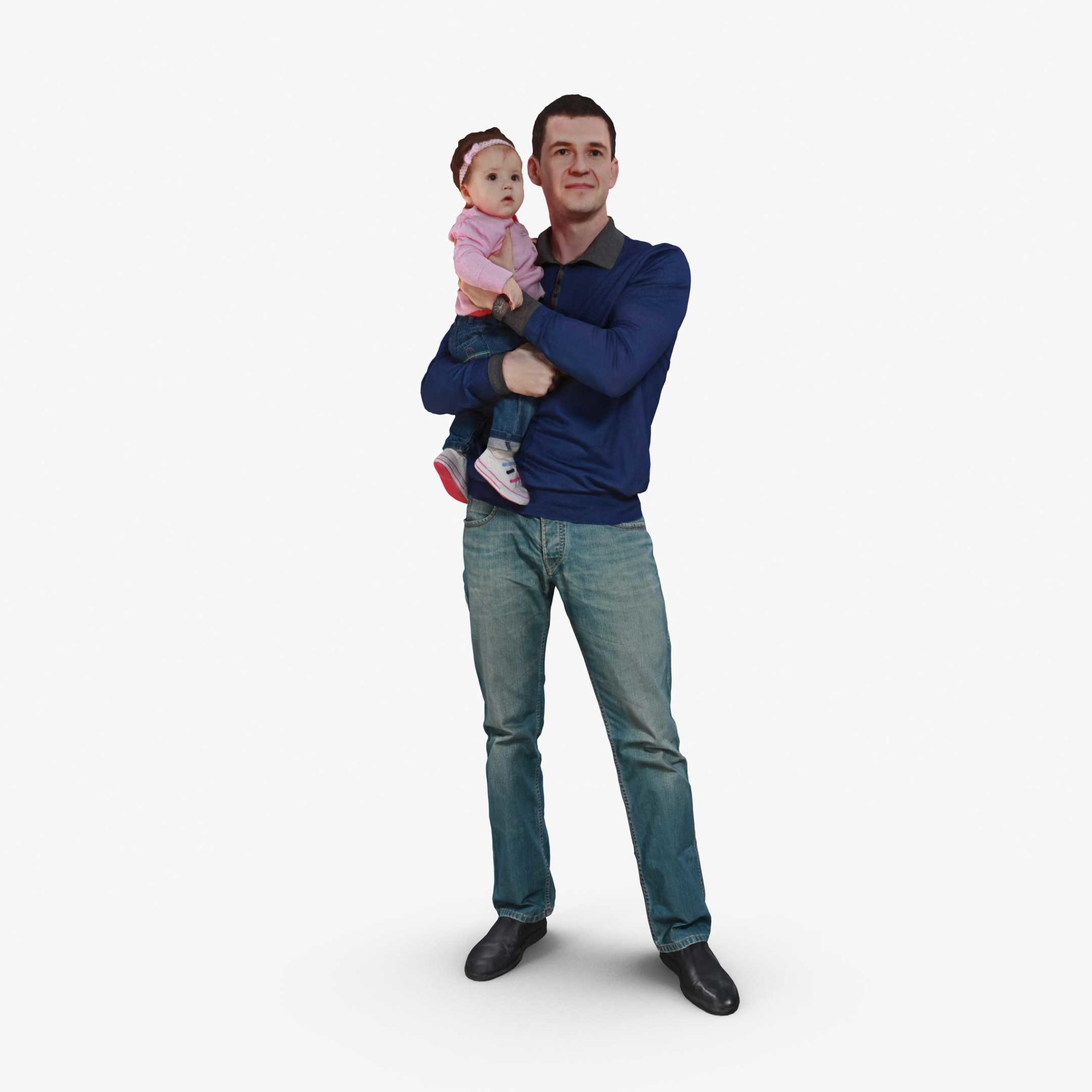 Father And Daughter 3D Model | 3DTree Scanning Studio