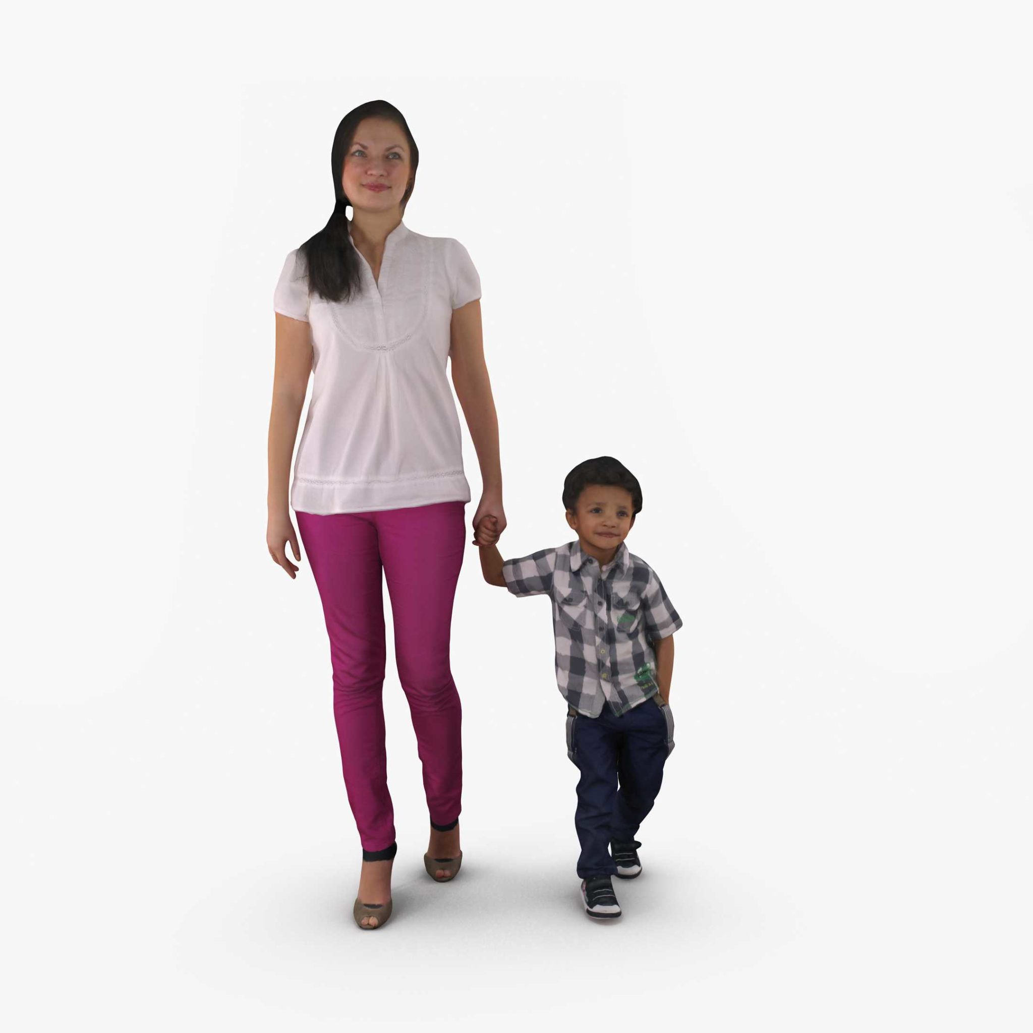 Mother and Baby Walking 3D Model | 3DTree Scanning Studio