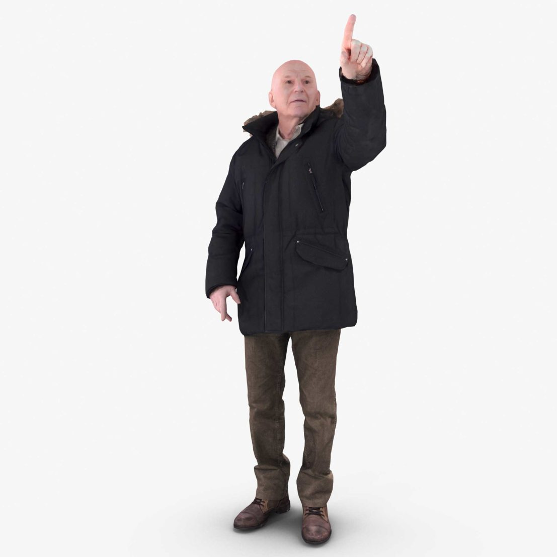 Oldman Pointing 3D Model | 3DTree Scanning Studio