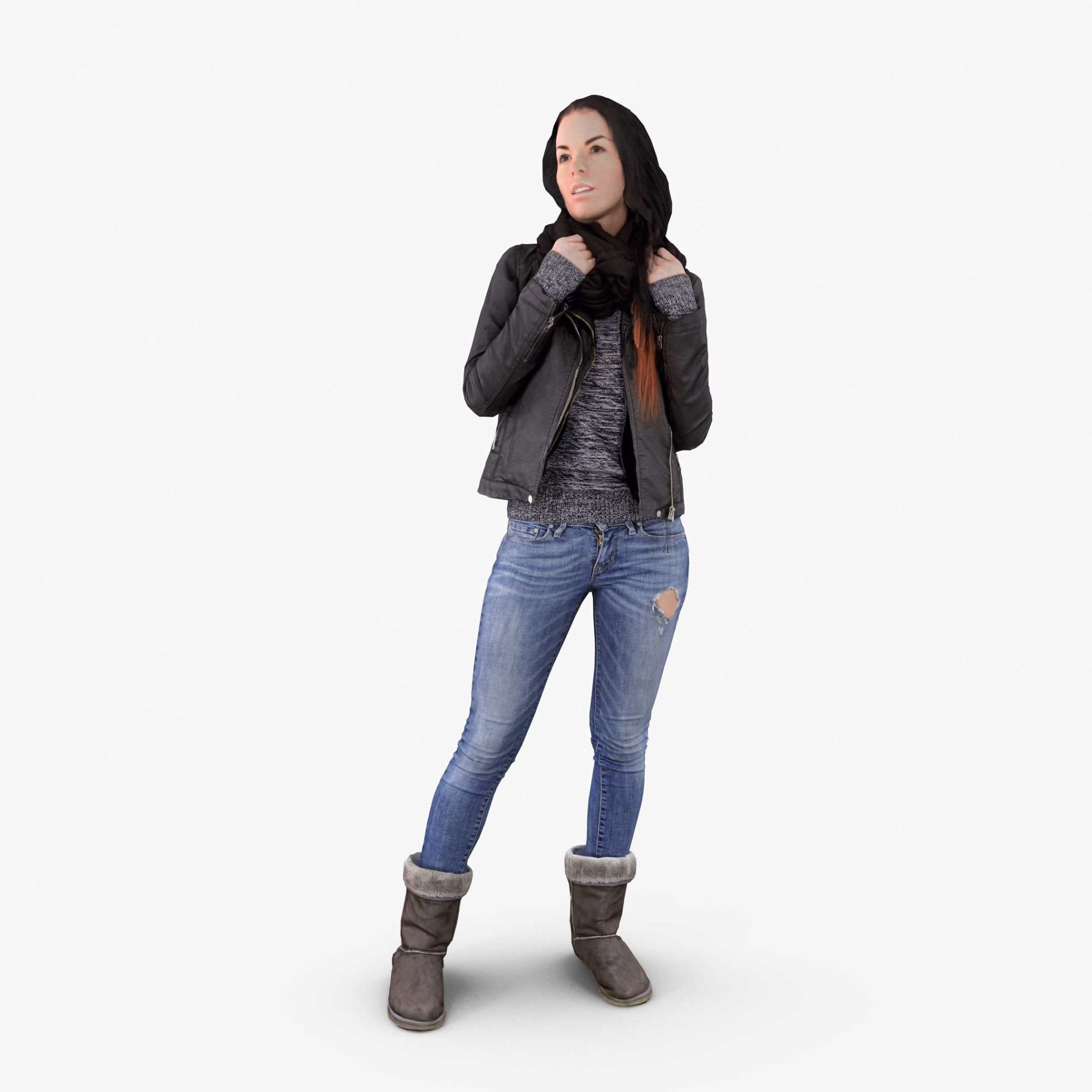 Casual Woman Posed 3D Model, for download files in 3ds, max, obj, fbx with low poly, game, and VR/AR options. Ready for 3D Printing.