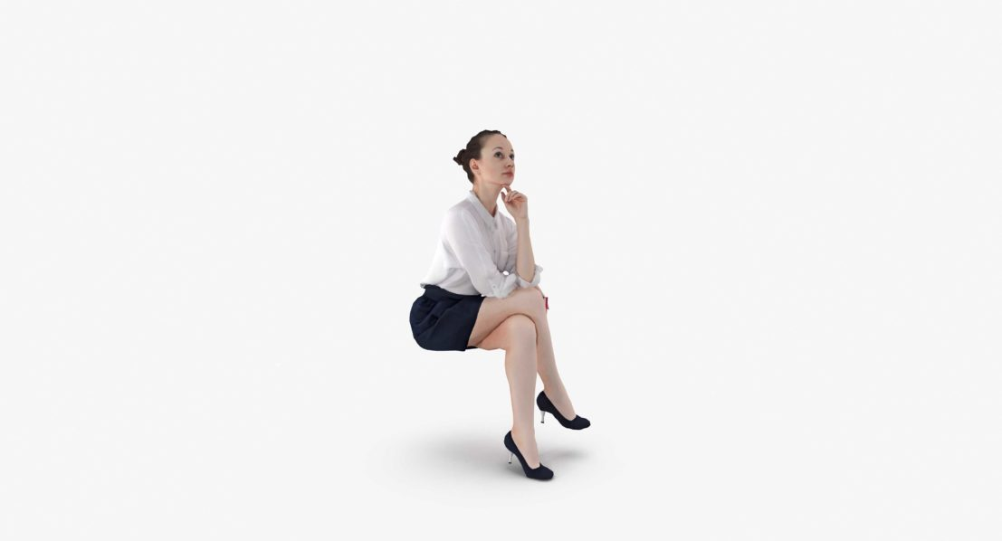 Business Woman Sitting 3D Model, for download files in 3ds, max, obj, fbx with low poly, game, and VR/AR options. Ready for 3D Printing.