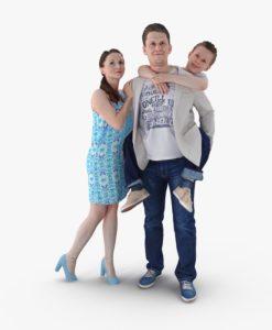 Family Posed 3D Model | 3DTree Scanning Studio