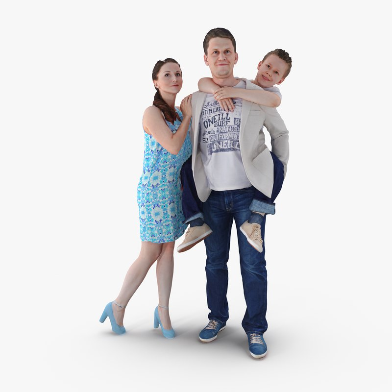 Family Posed 3D Model | 3DTree Scanning Studio