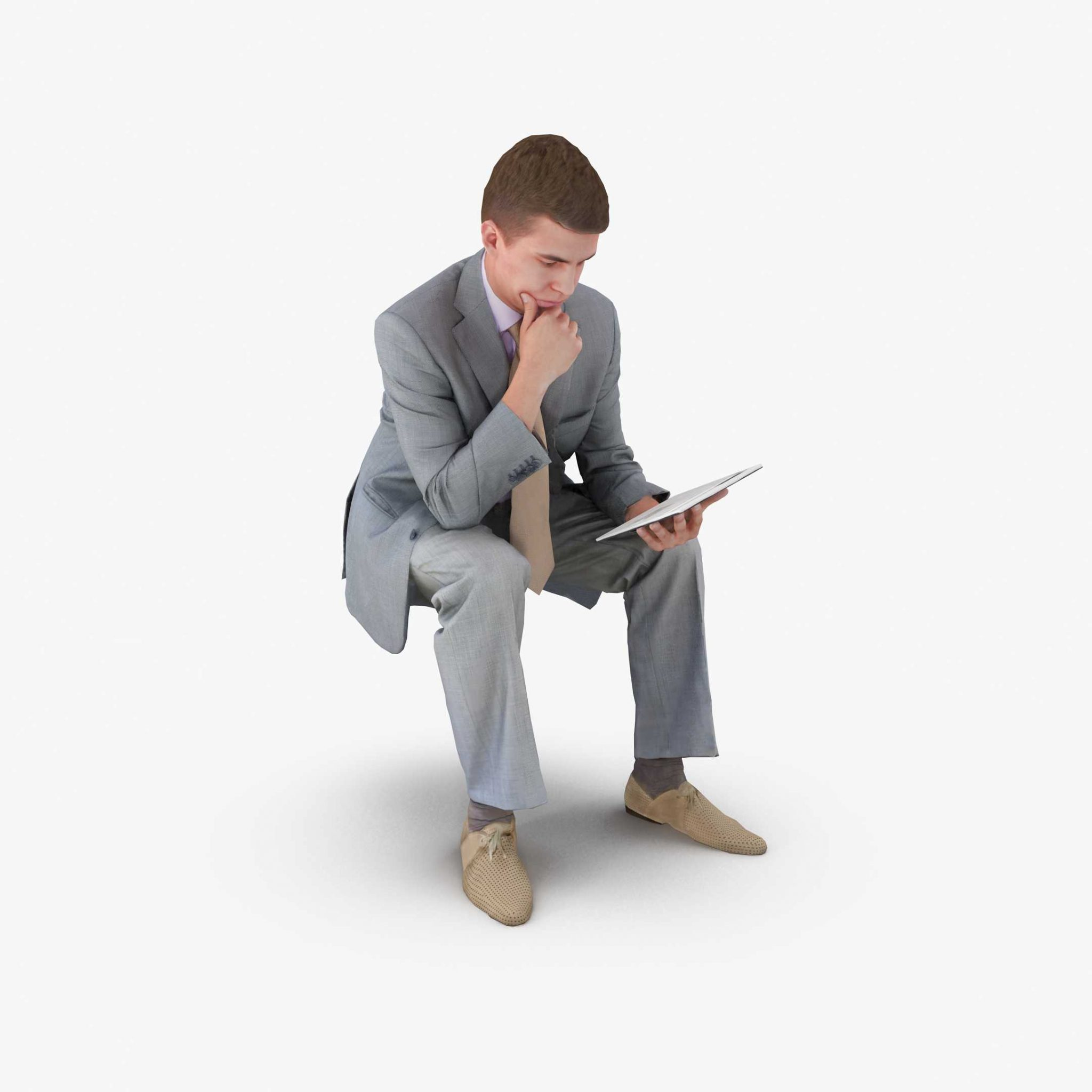 Businessman Reading 3D Model | 3DTree Scanning Studio