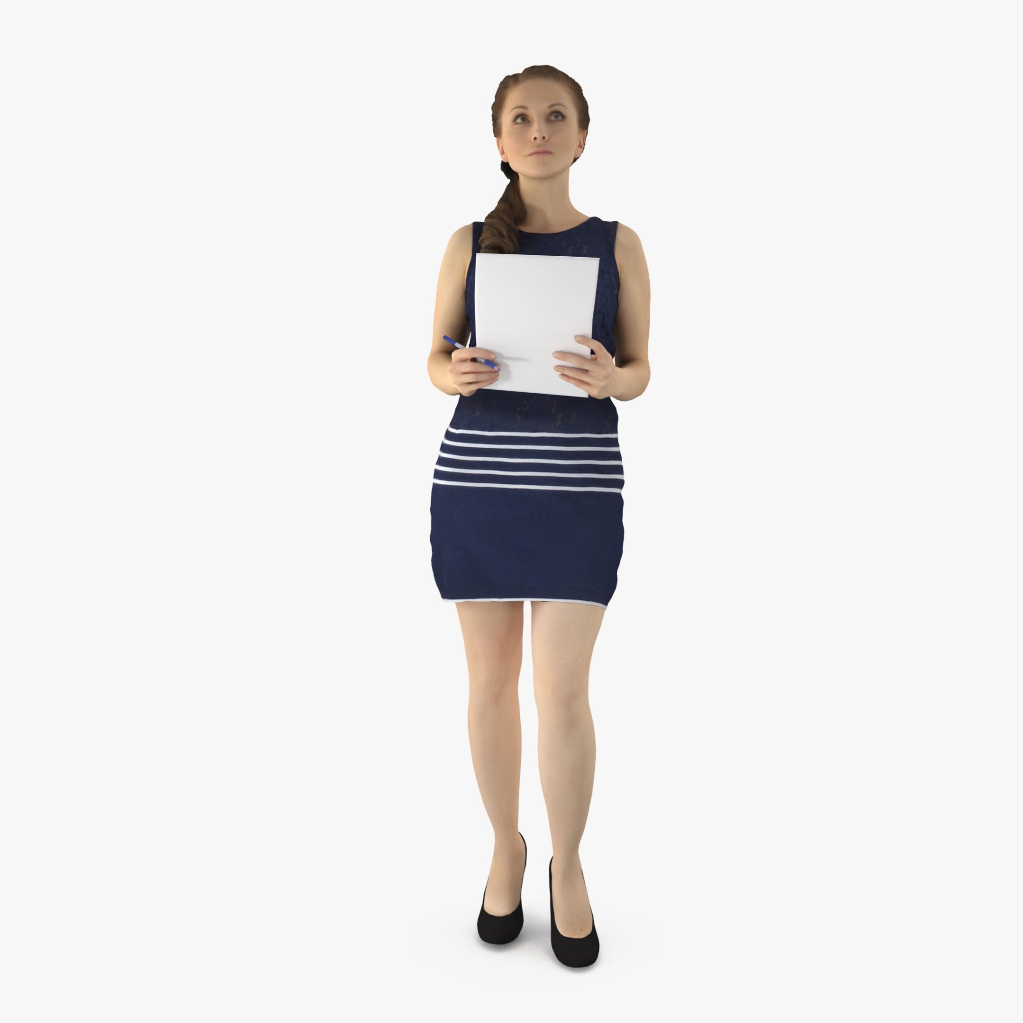 Business Lady Listening 3D Model | 3DTree Scanning Studio