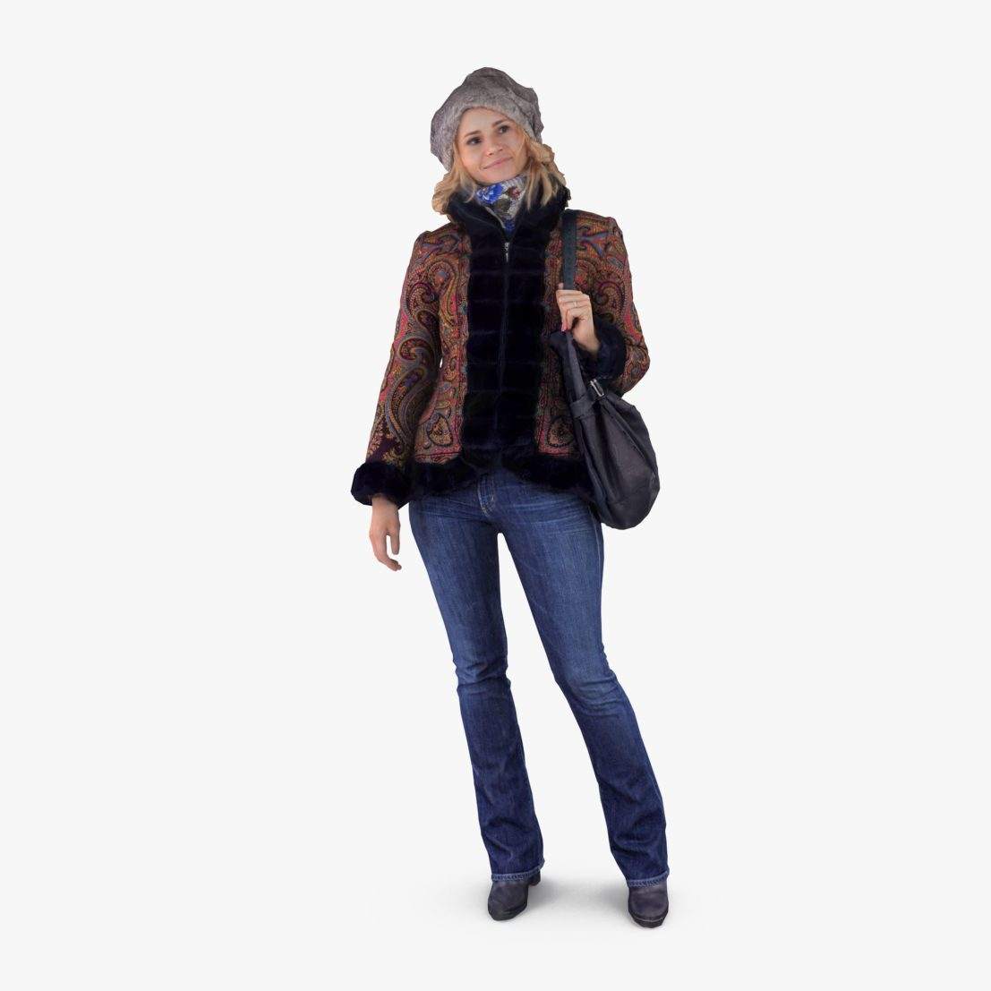 Winter Lady Standing 3D Model | 3DTree Scanning Studio