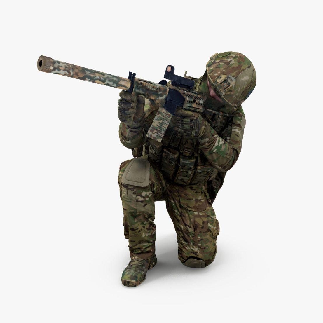 Soldier Squatting 3D Model | 3DTree Scanning Studio