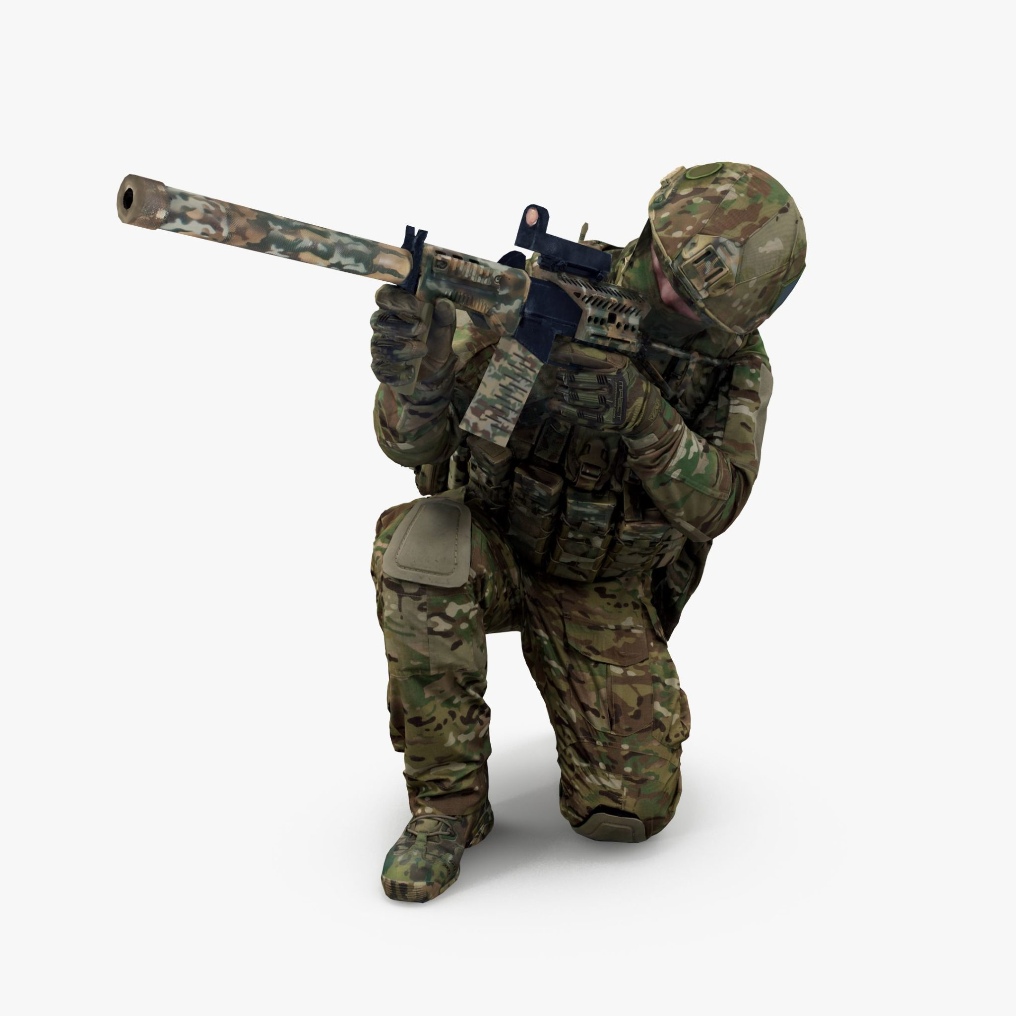 Soldier Squatting 3D Model | 3DTree Scanning Studio