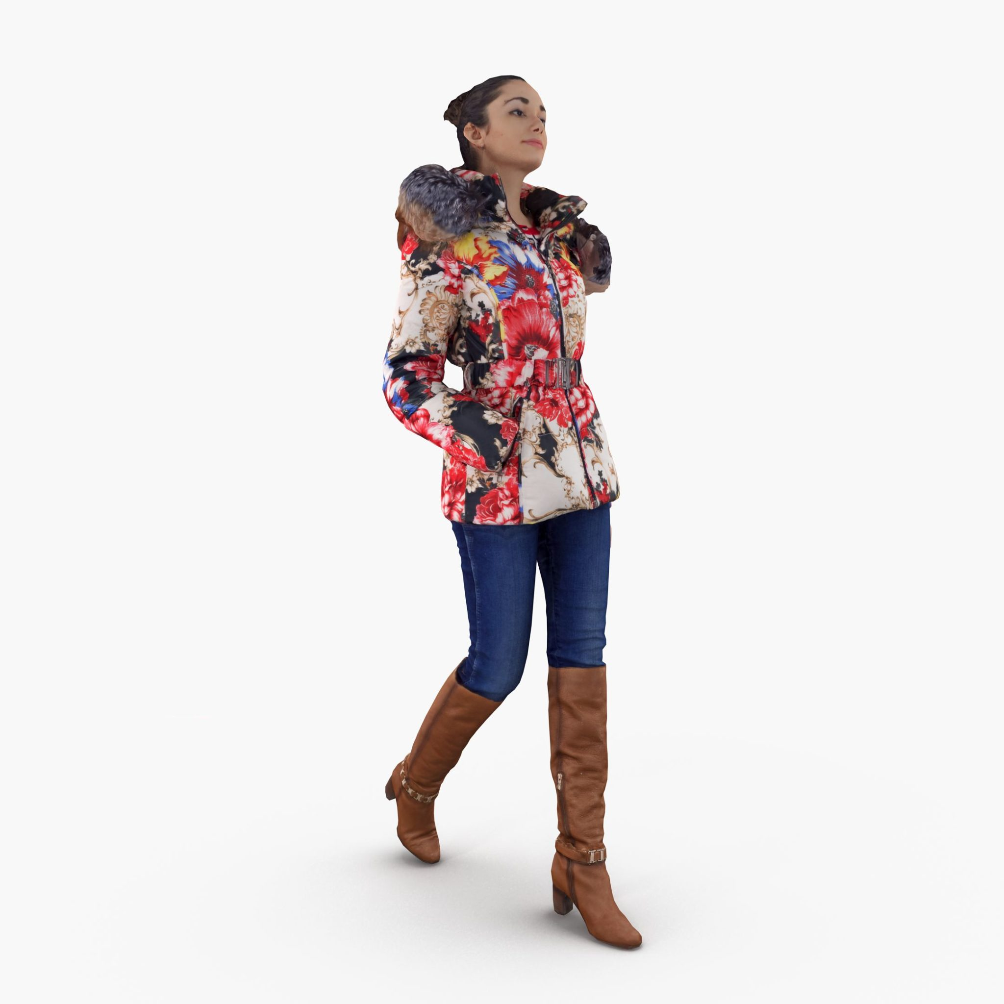 City Girl in Jacket 3D Model | 3DTree Scanning Studio