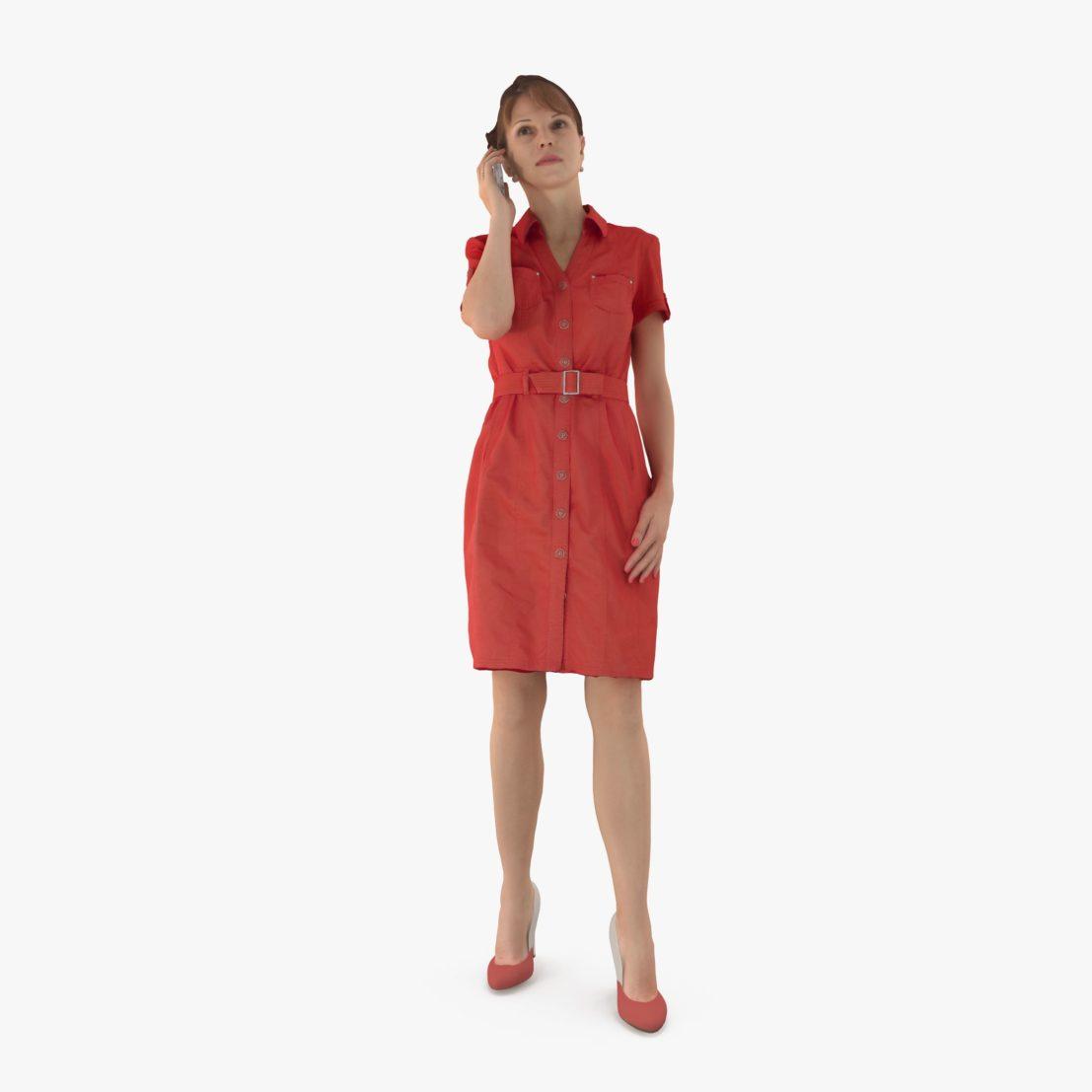 Lady in Red Dress 3D Model | 3DTree Scanning Studio