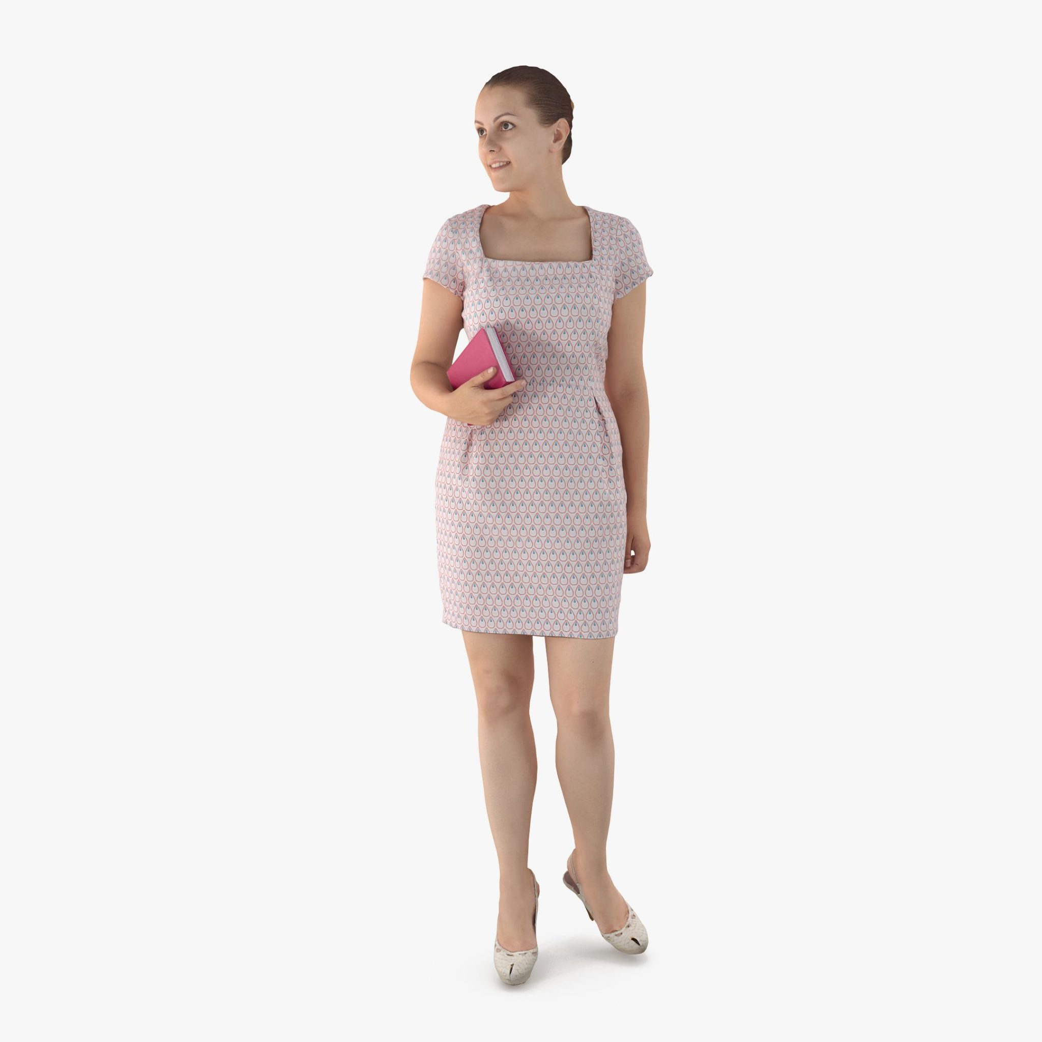 Lady with Book 3D Model   3DTree Scanning Studio