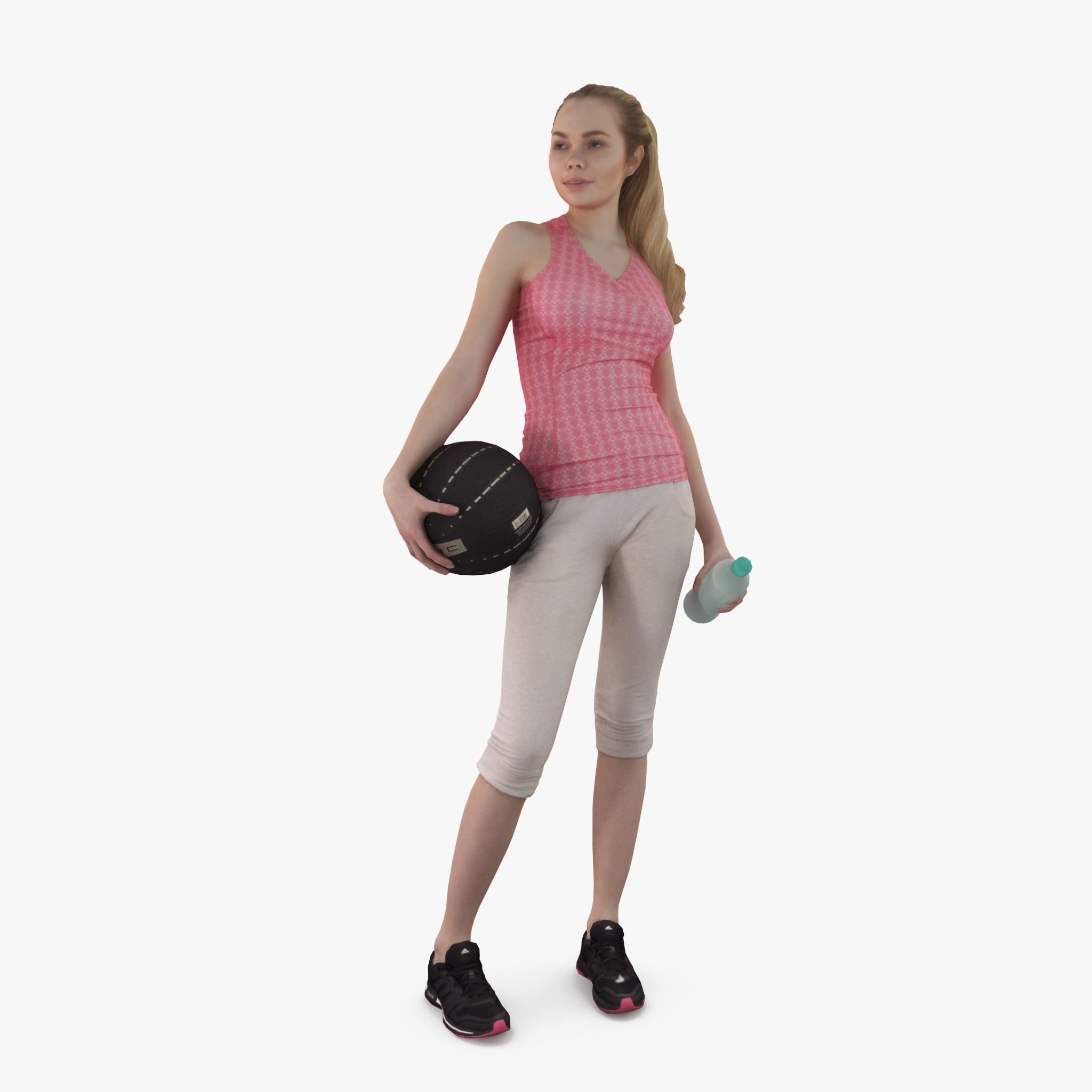 Sport Woman with Ball 3D Model FREE Download | 3DTree Studio