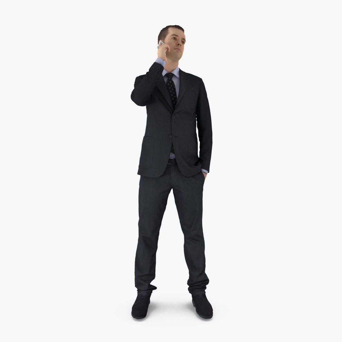 Businessman Phones 3D Model   3DTree Scanning Studio