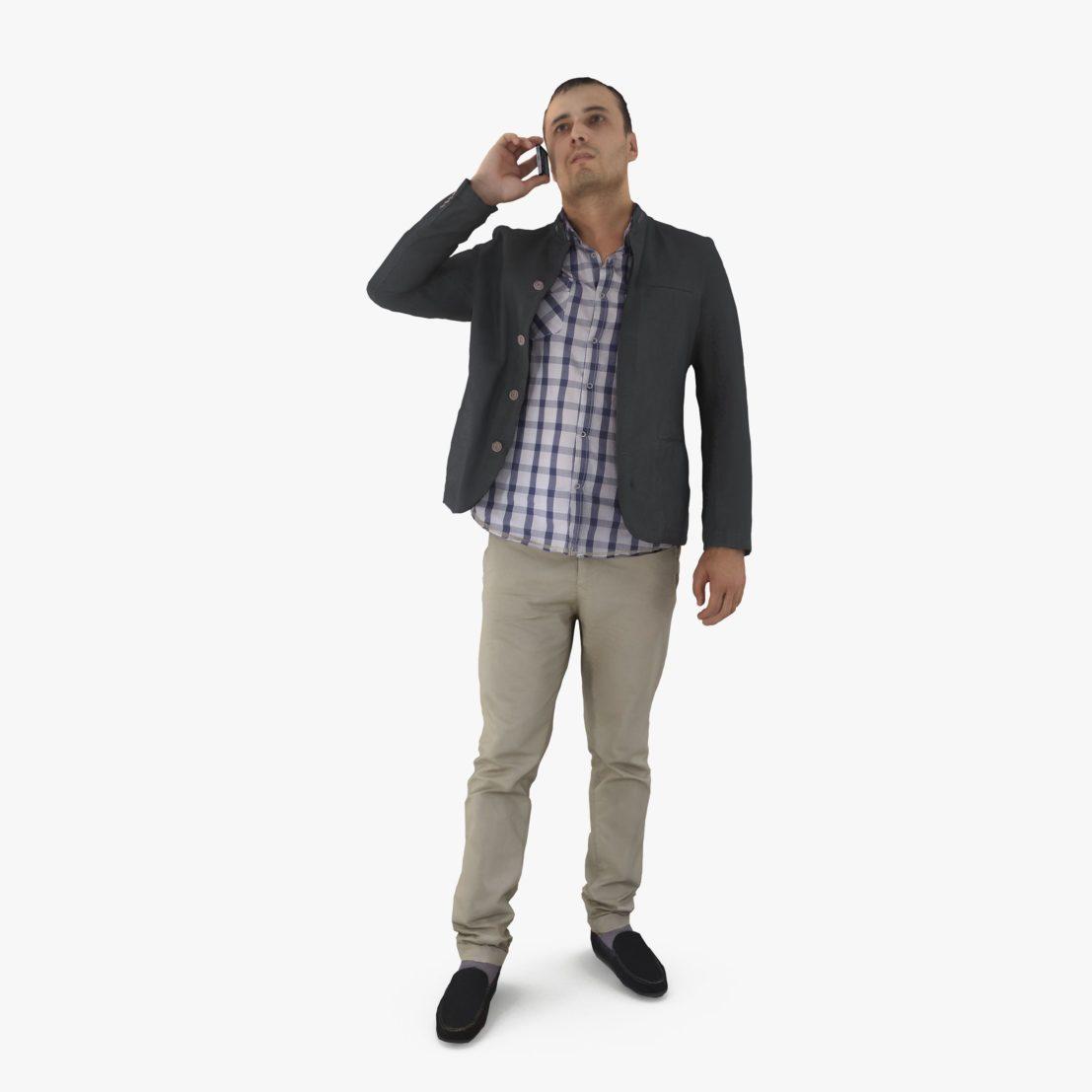 Urban Man Calling 3D Model   3DTree Scanning Studio