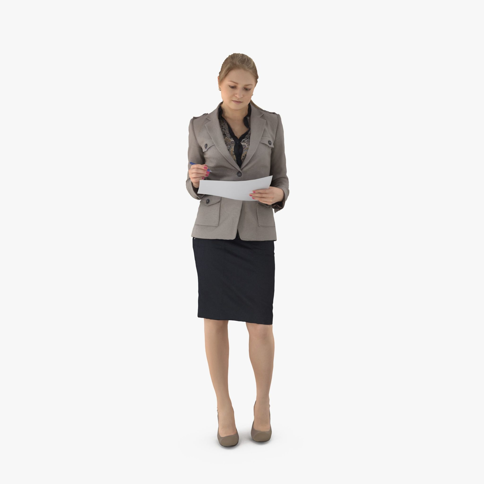 Business Woman Notes 3D Model | 3DTree Scanning Studio