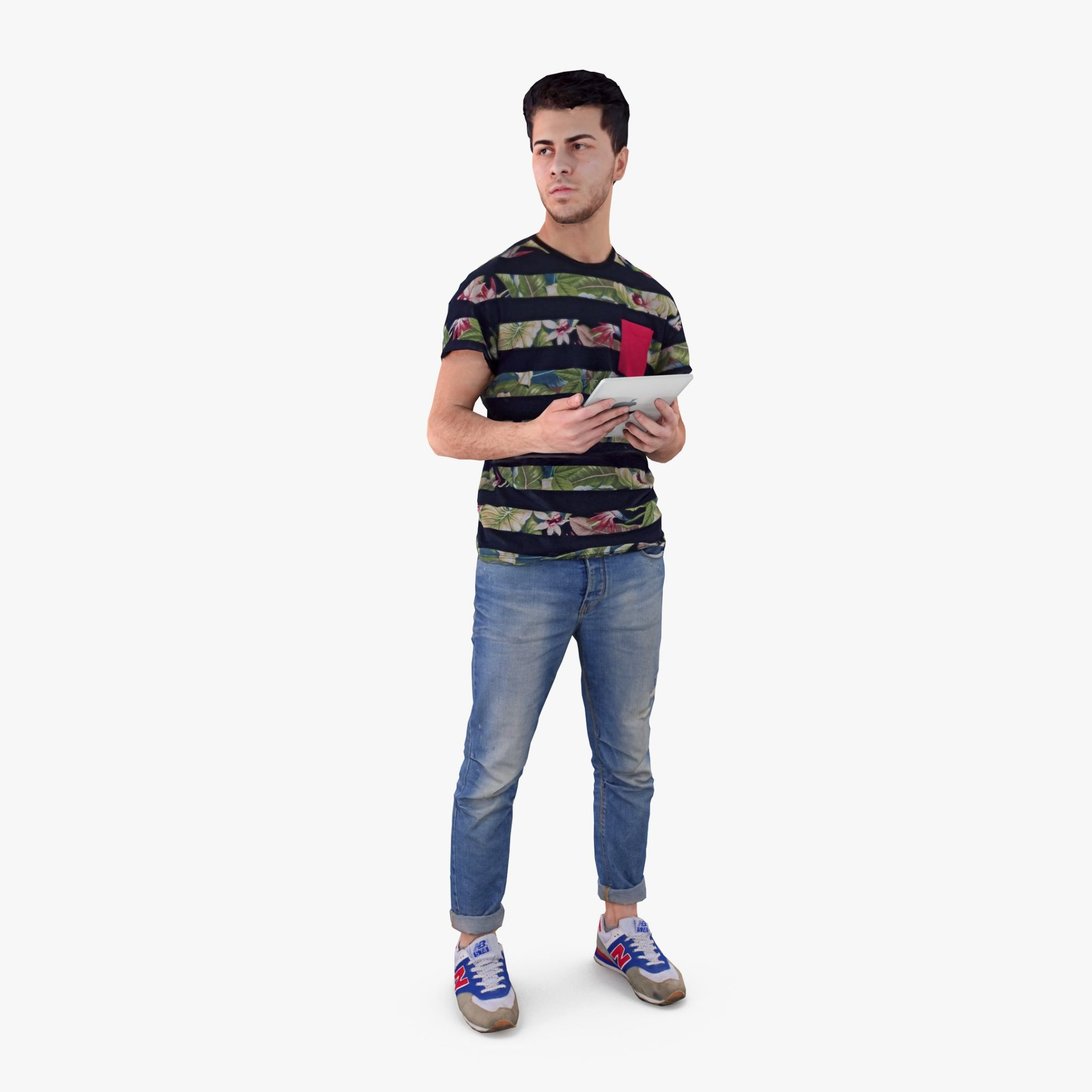Casual Man with Pad 3D Model | 3DTree Scanning Studio