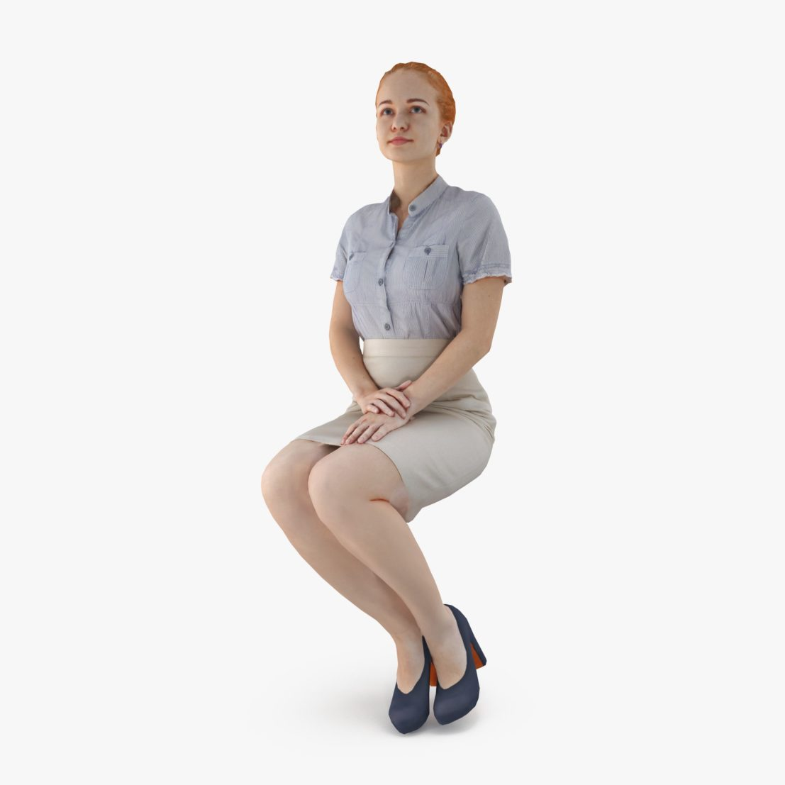 City Lady Sitting 3D Model | 3DTree Scanning Studio