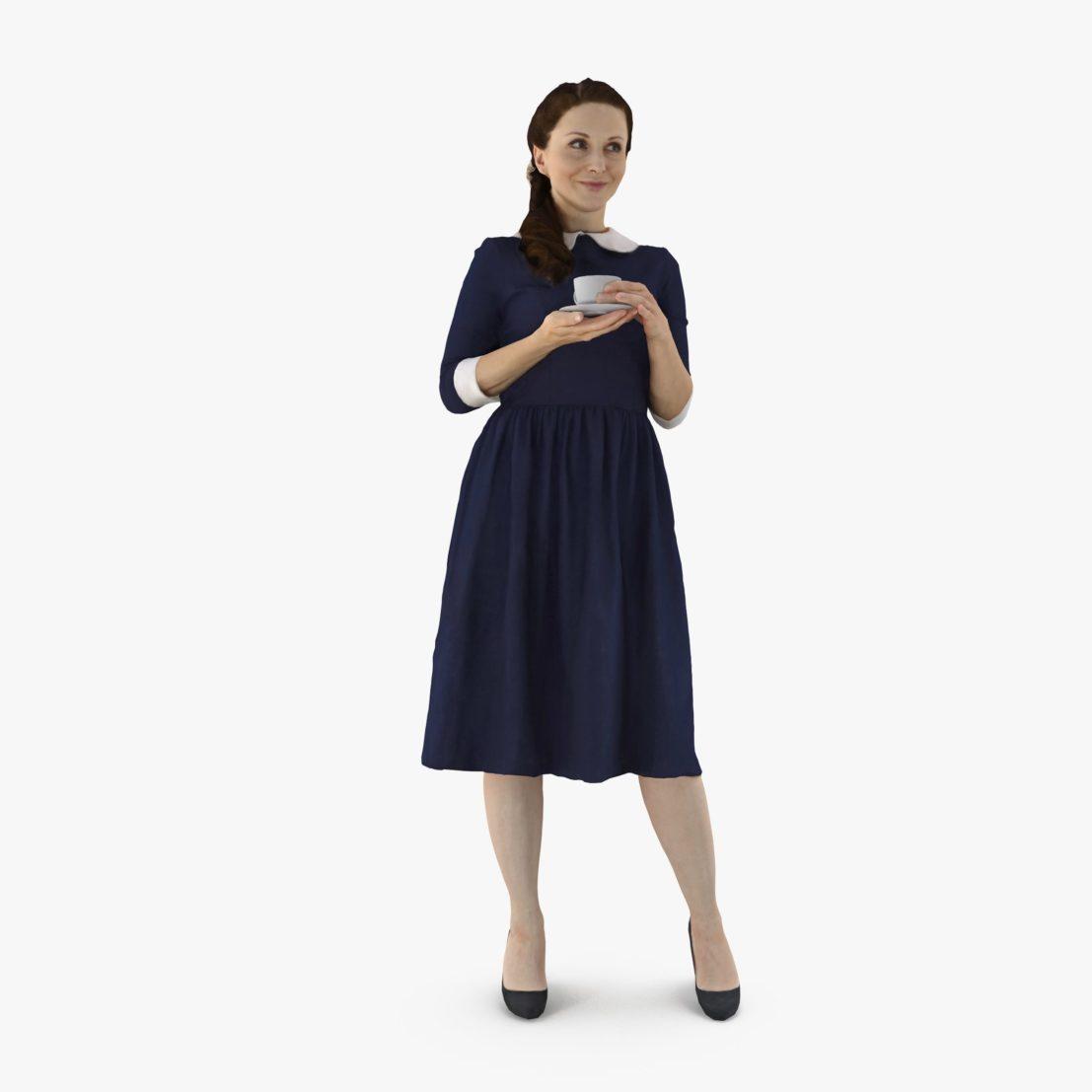 Lady Drinking Tea 3D Model | 3DTree Scanning Studio