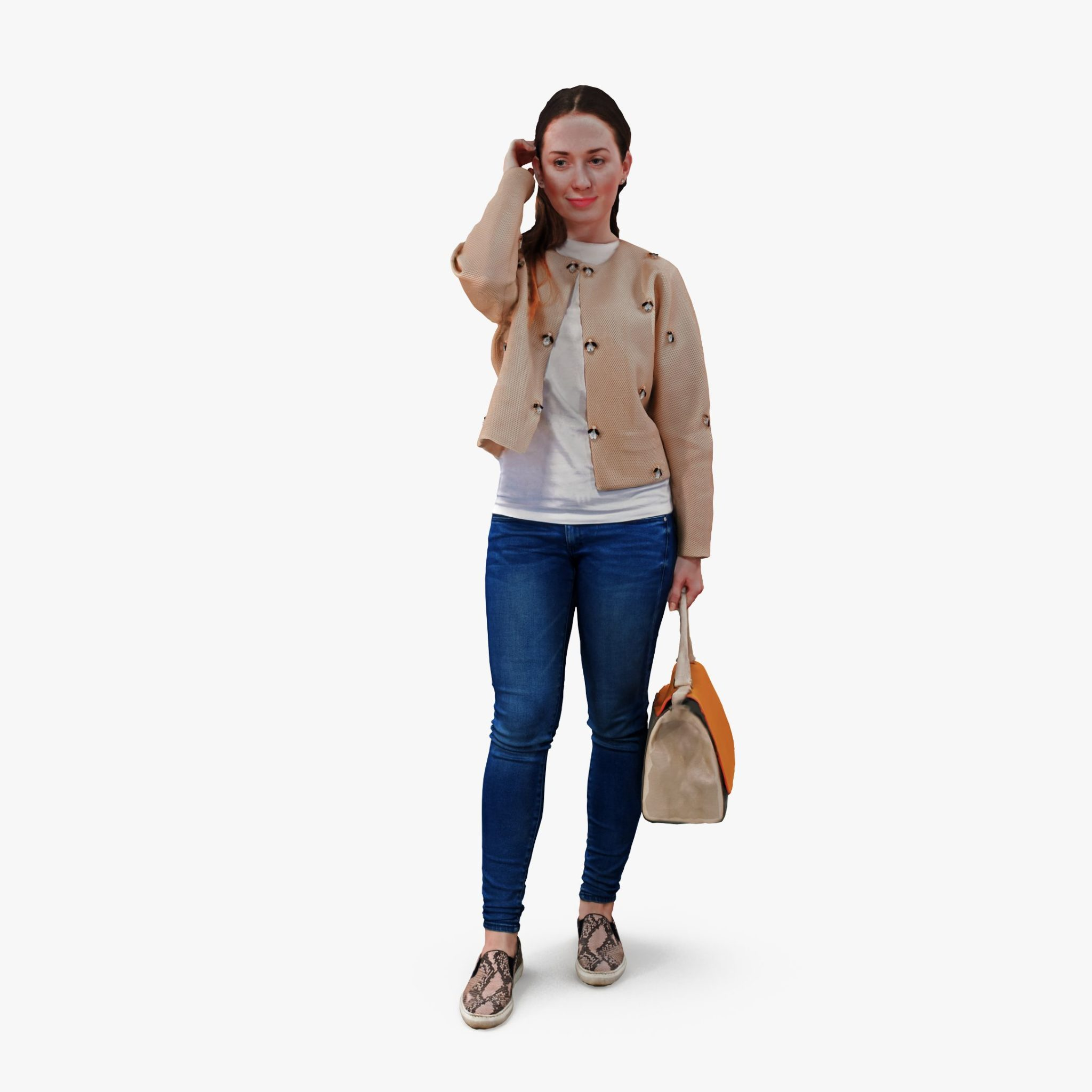 Girl Holding Bag 3D Model | 3DTree Scanning Studio