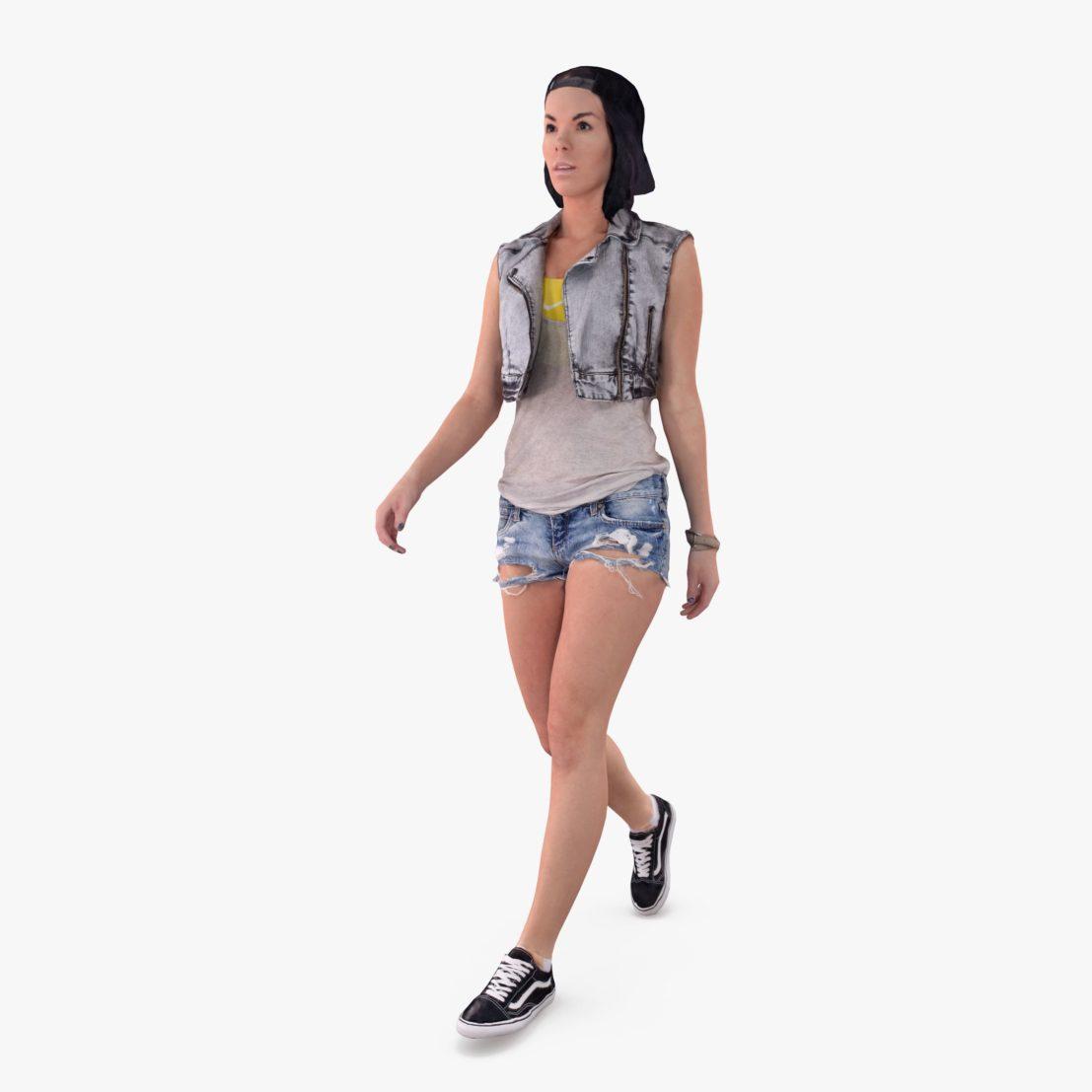 Summer Lady Walking 3D Model   3DTree Scanning Studio