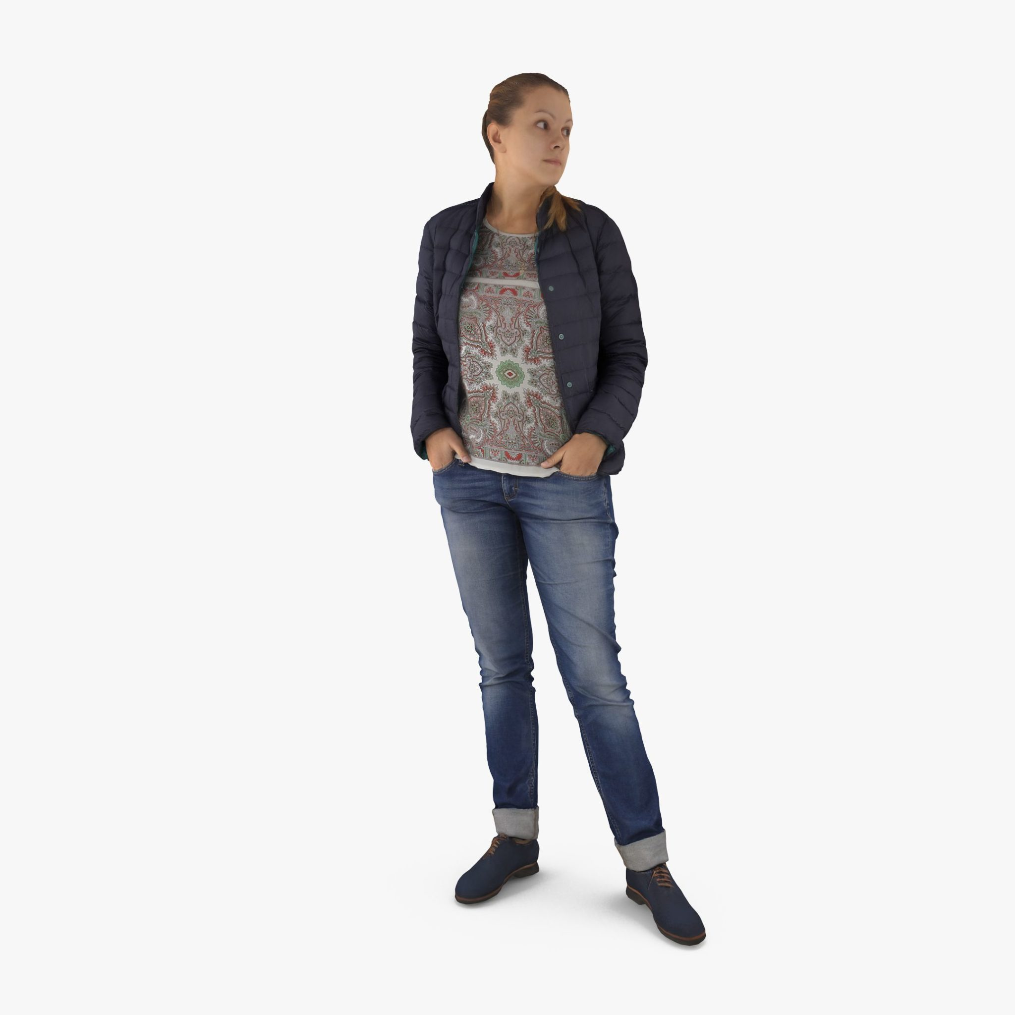 Casual Lady Standing 3D Model | 3DTree Scanning Studio