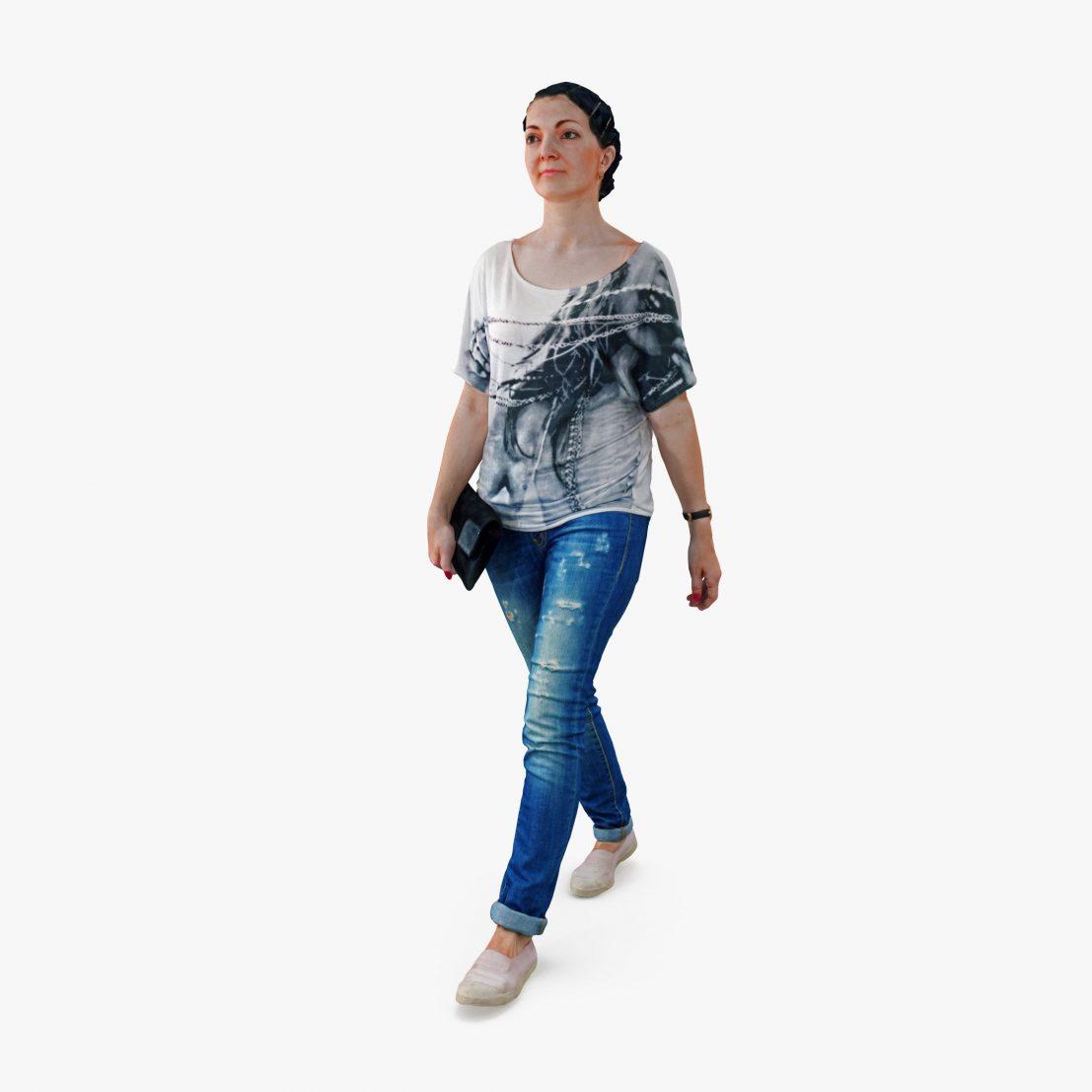 Casual Woman Walking 3D Model | 3DTree Scanning Studio