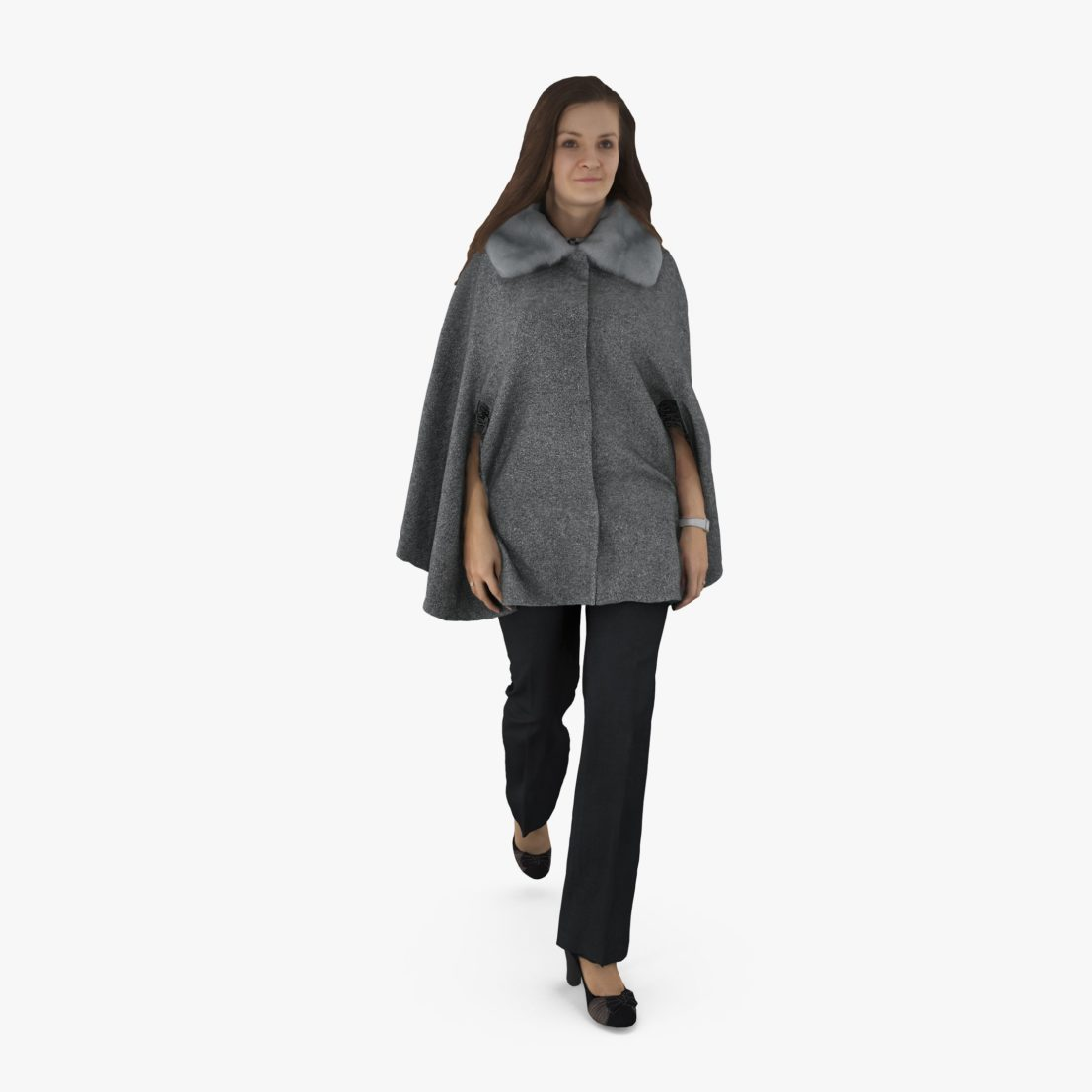 Woman Walking Poncho Dress 3D Model | 3DTree Scanning Studio