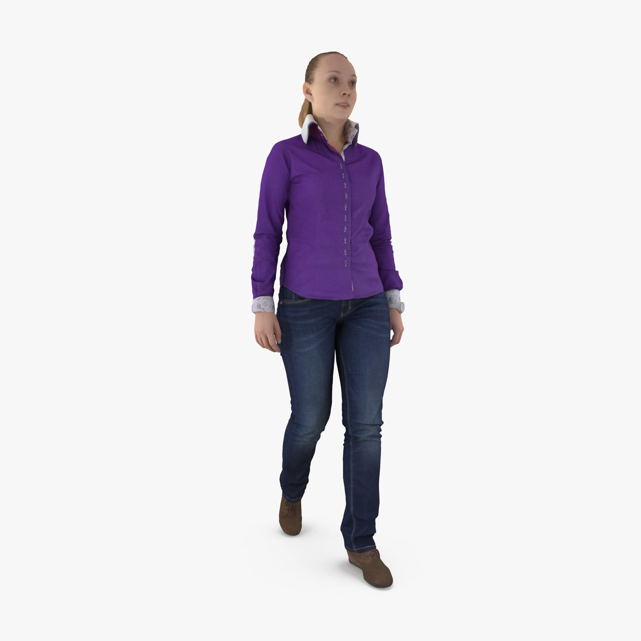 Casual Female Walking 3D Model | 3DTree Scanning Studio