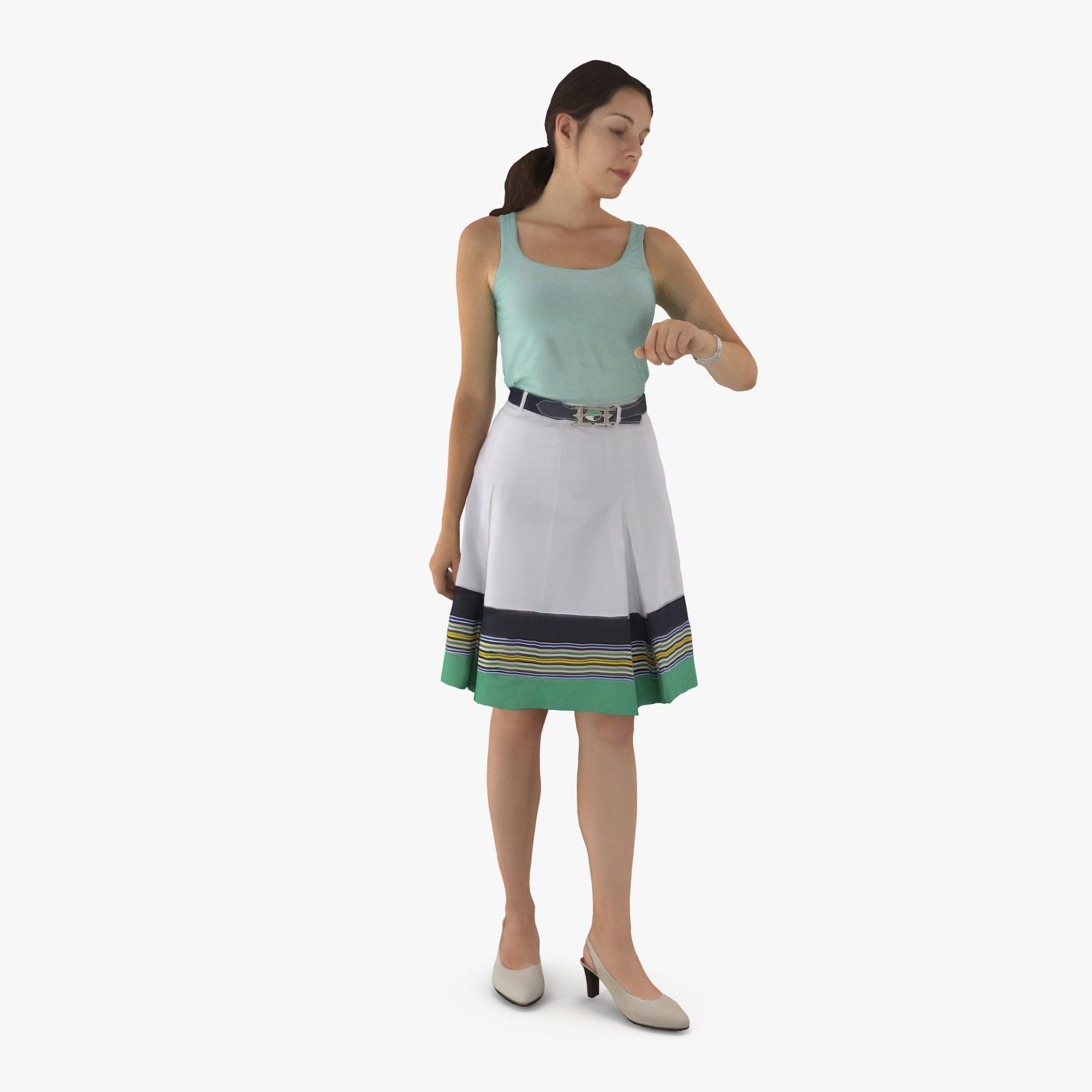 Girl Checking Time 3D Model | 3DTree Scanning Studio