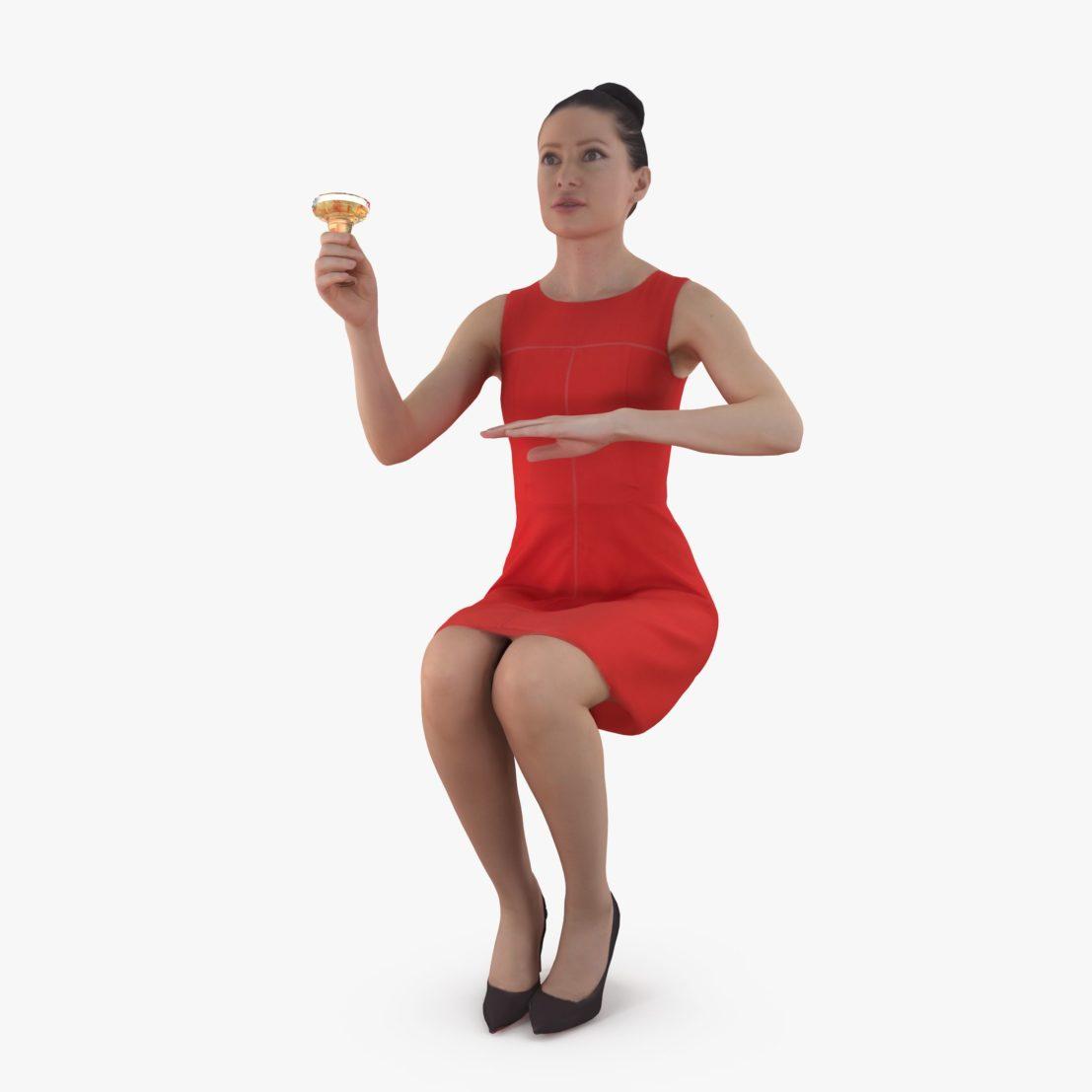 Dinner Girl 3D Model   3DTree Scanning Studio