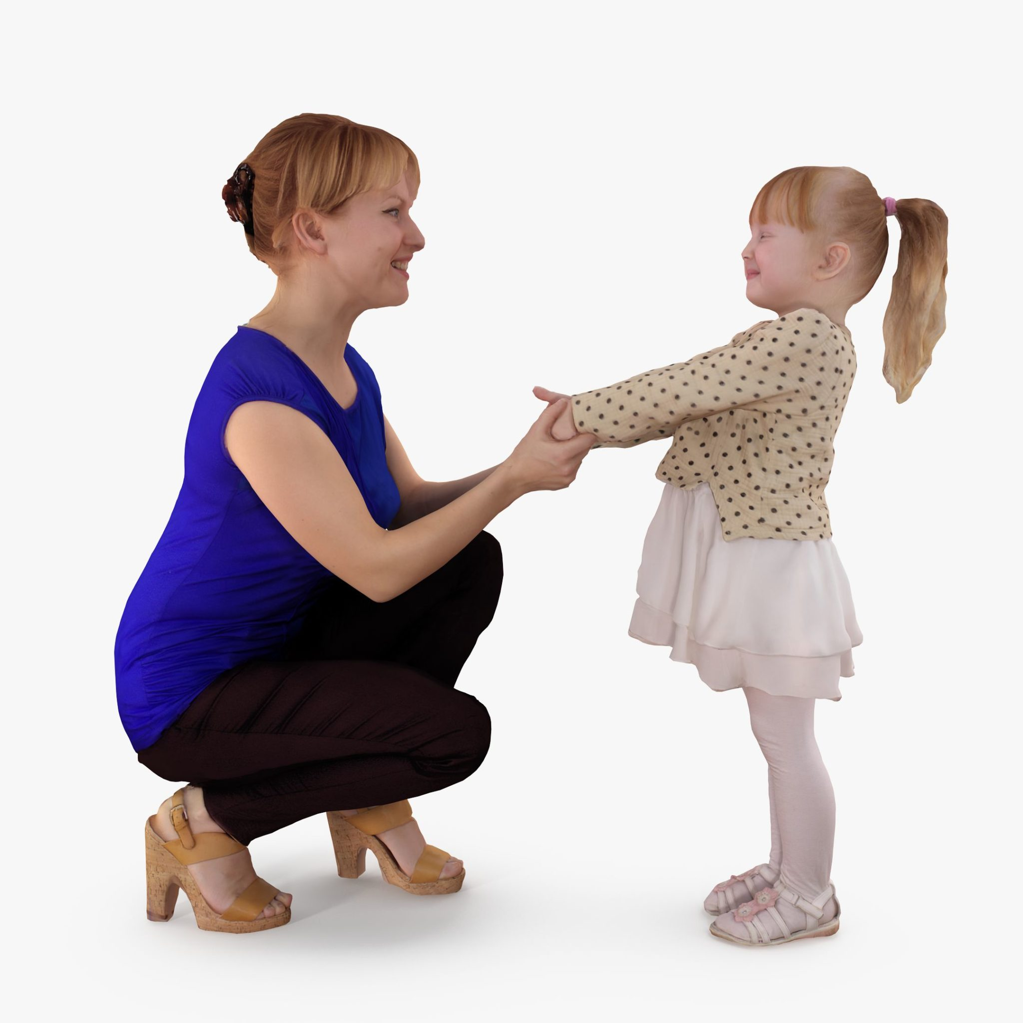 Mother Talking with Baby 3D Model | 3DTree Scanning Studio