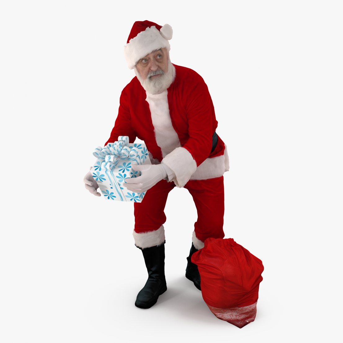 Santa with a Gift 3D Model | 3DTree Scanning Studio