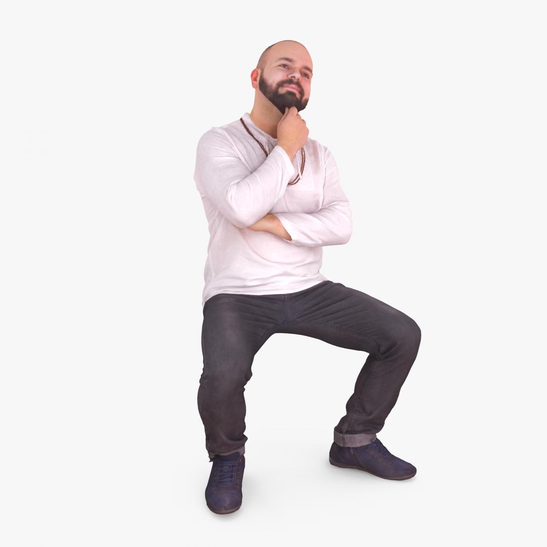 Relax Man Sitting 3D Model | 3DTree Scanning Studio
