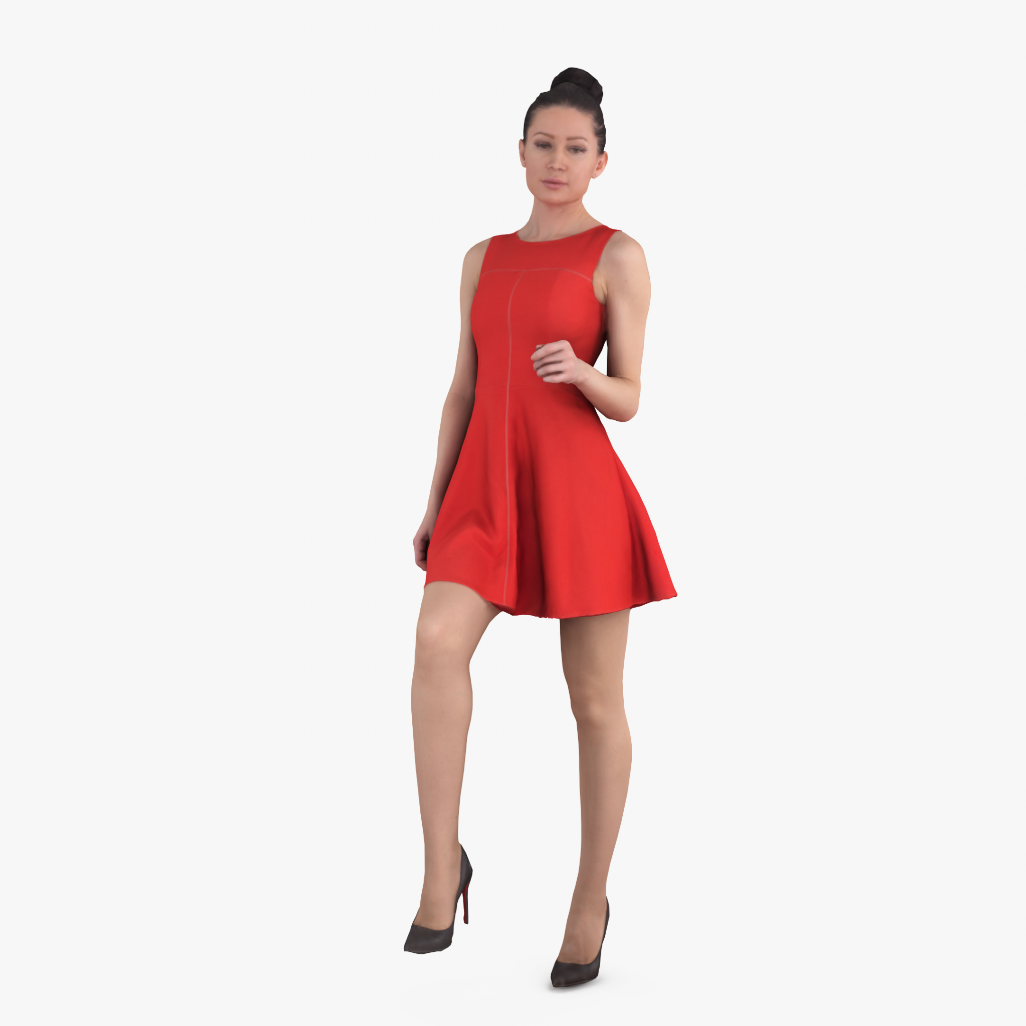 Lady in Red Standing 3D Model   3DTree Scanning Studio