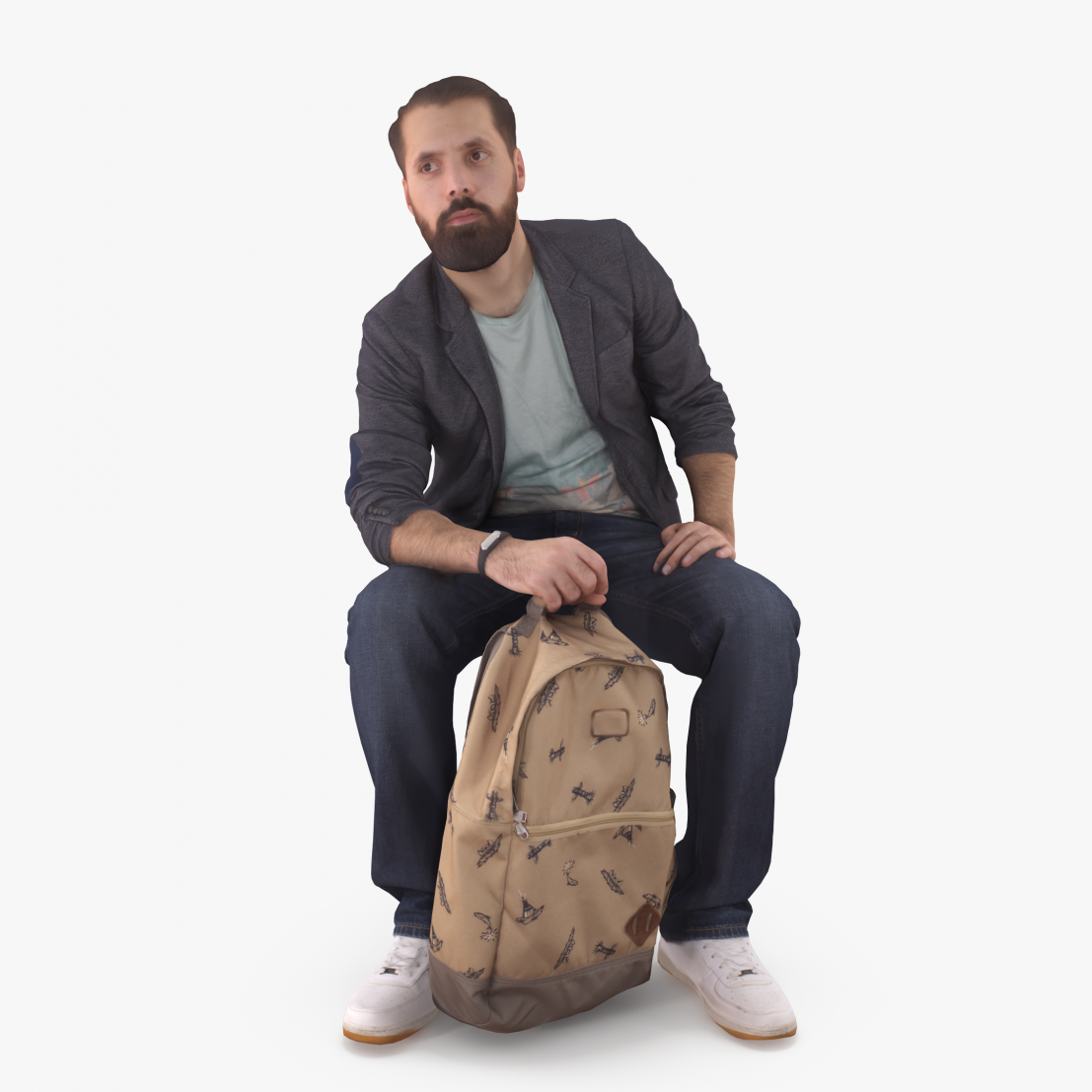 Bearded Man with Bag 3D Model | 3DTree Scanning Studio