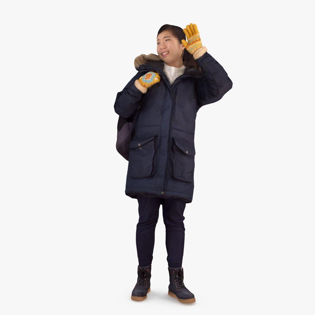 Winter Girl Greeting 3D Model | 3DTree Scanning Studio