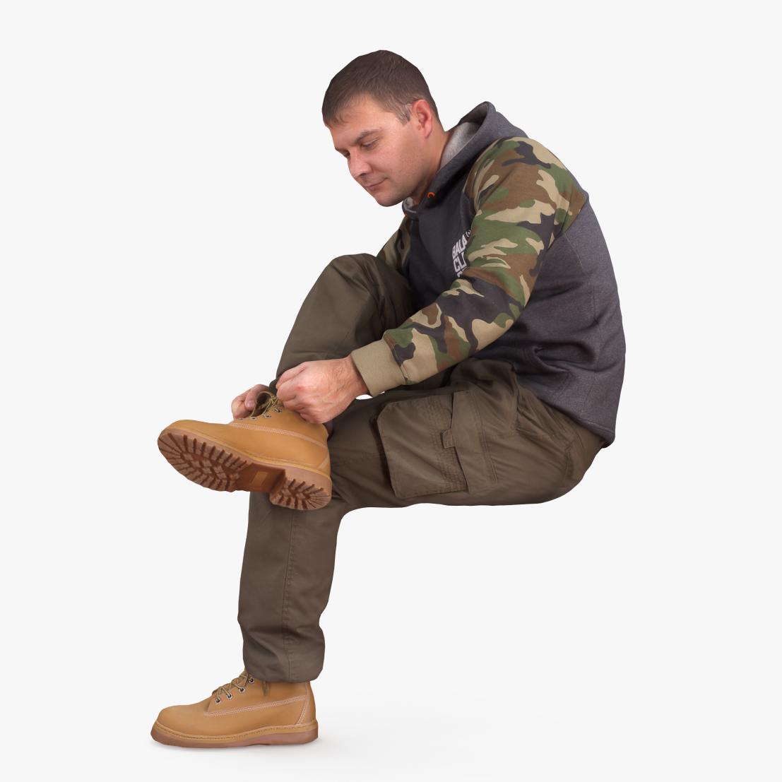 Urban Man Sitting 3D Model | 3DTree Scanning Studio
