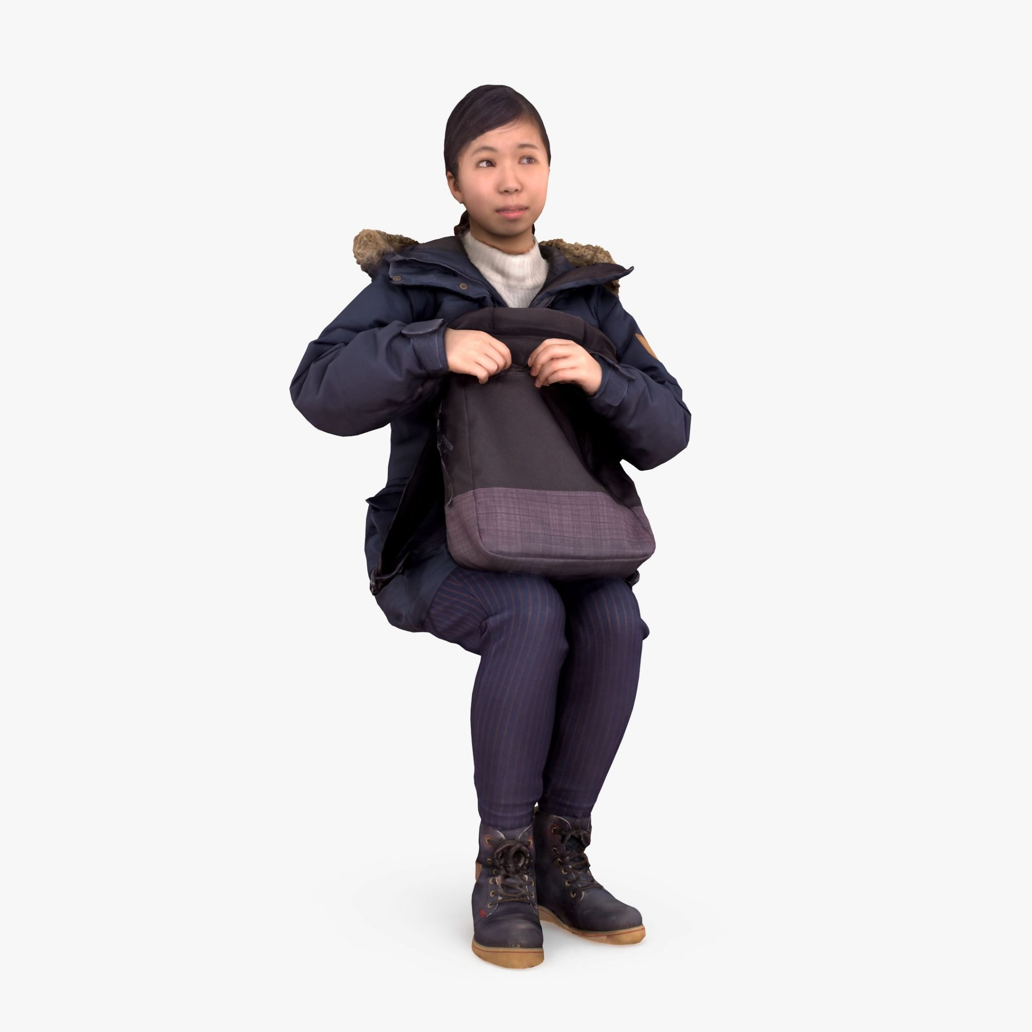 Winter Sitting Girl 3D Model | 3DTree Scanning Studio