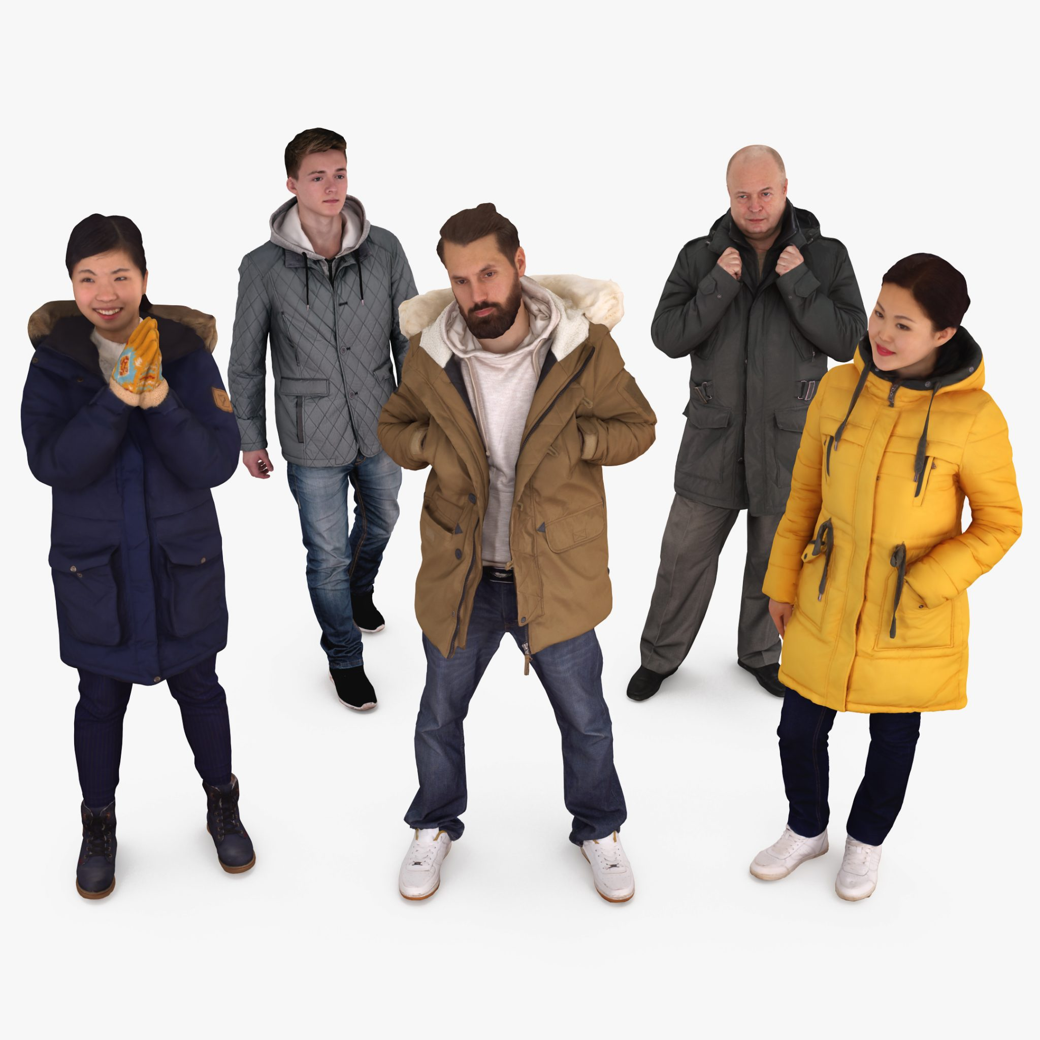 Winter People Collection x5 3D Models | 3DTree Scanning Studio