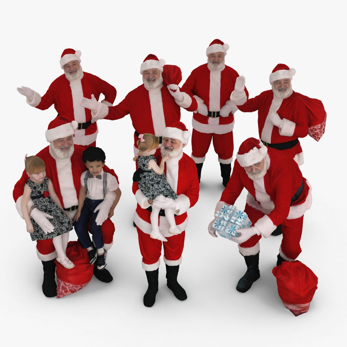 Santa Collection x7 3D Models | 3DTree Scanning Studio