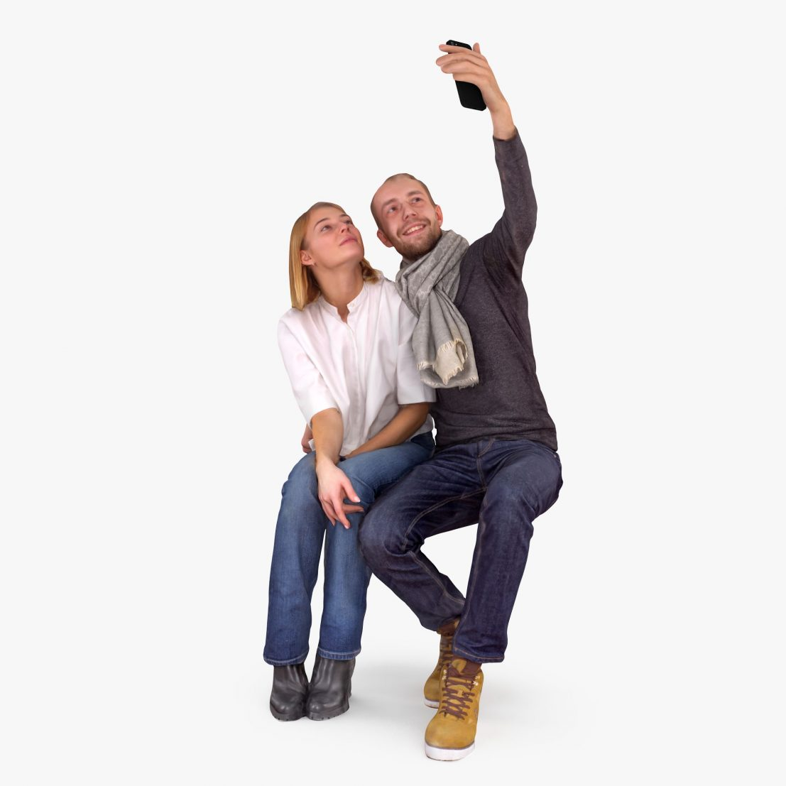 Couple in Love Selfie 3D Model | 3DTree Scanning Studio