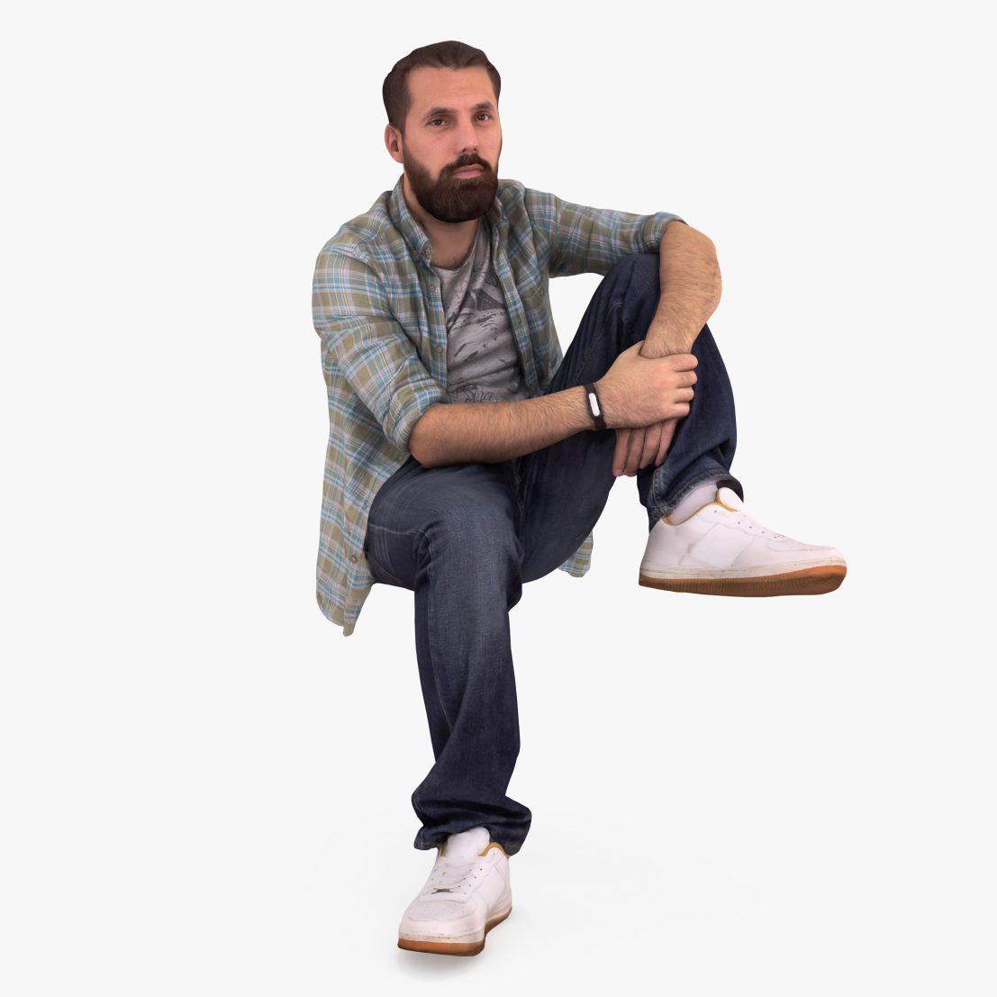Bearded Man Sitting 3D Model | 3DTree Scanning Studio