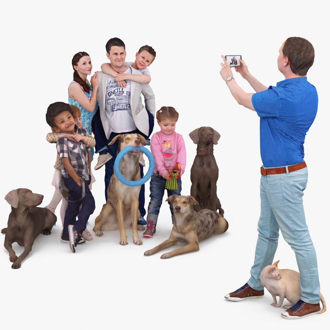 Family Photo Session x9 3D Models | 3DTree Scanning Studio